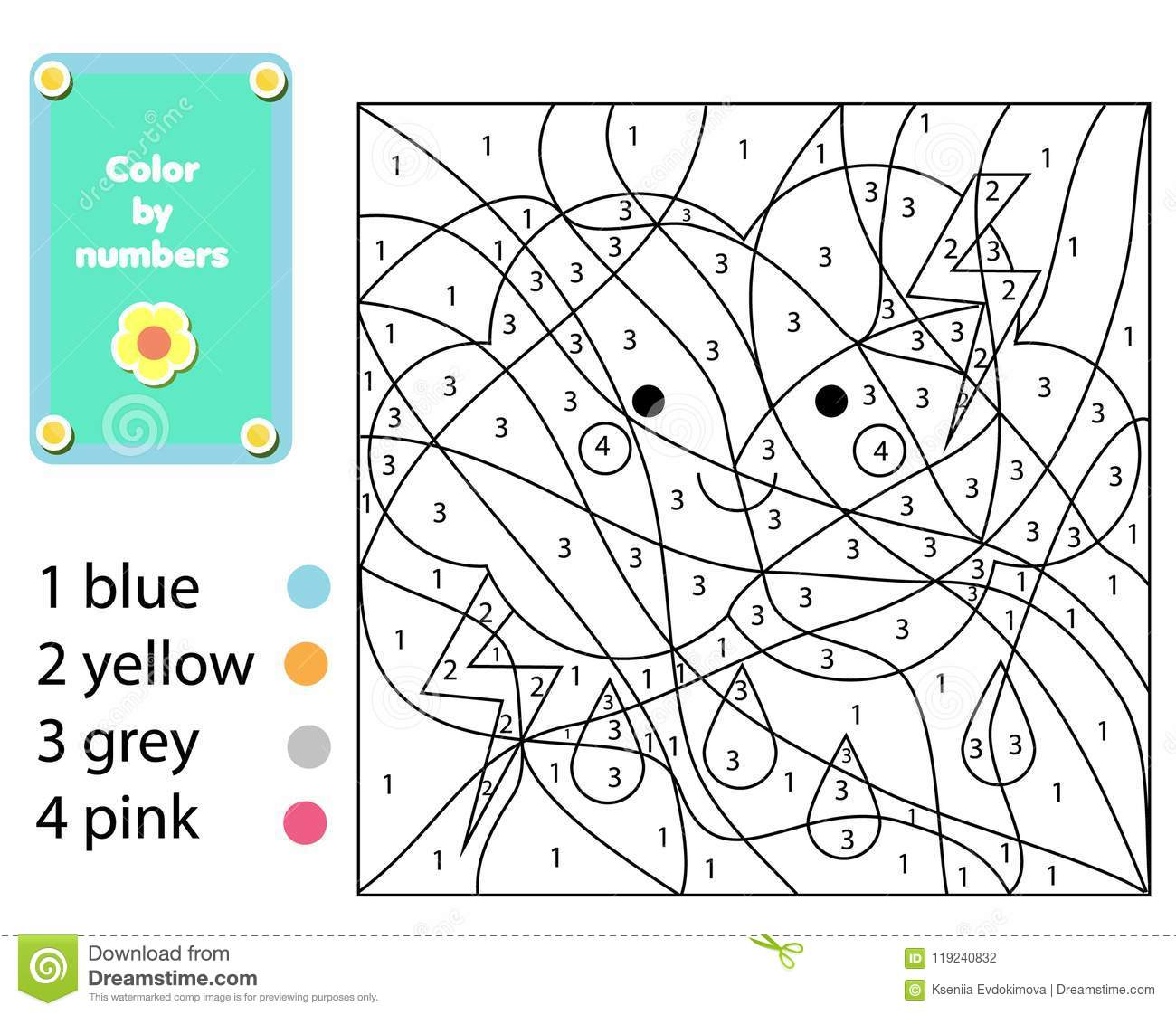 Children Educational Game. Coloring Page With Cute Cloud ...