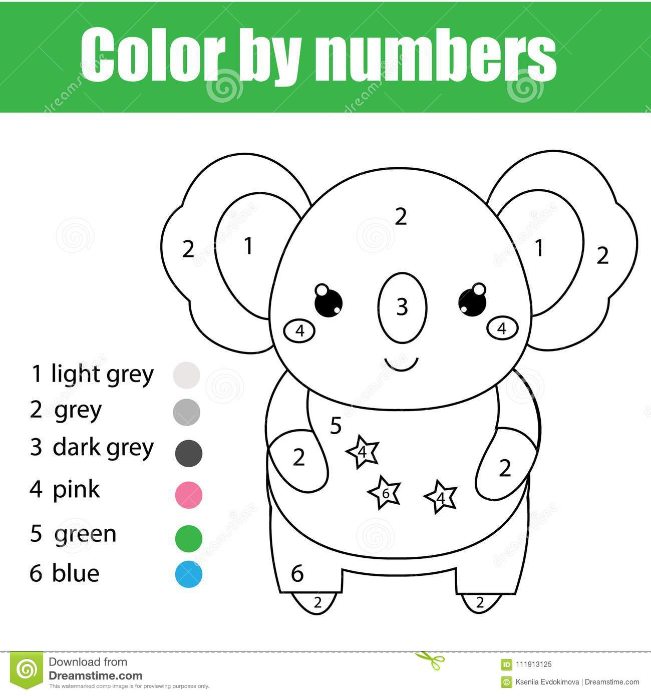 children educational game coloring page cute koala color numbers printable activity worksheet toddlers pre school