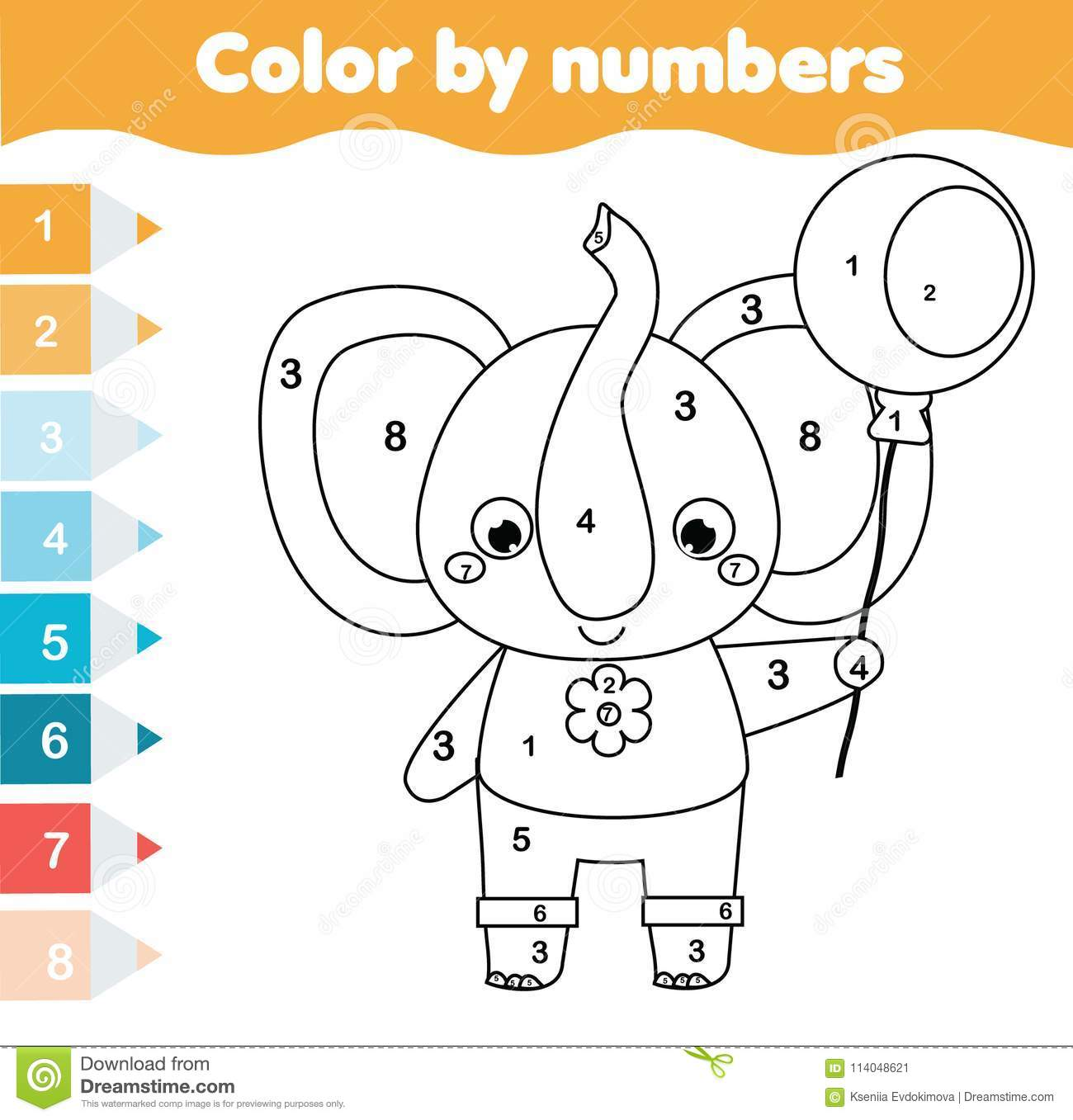 Children Educational Game. Coloring Page With Elephant ...