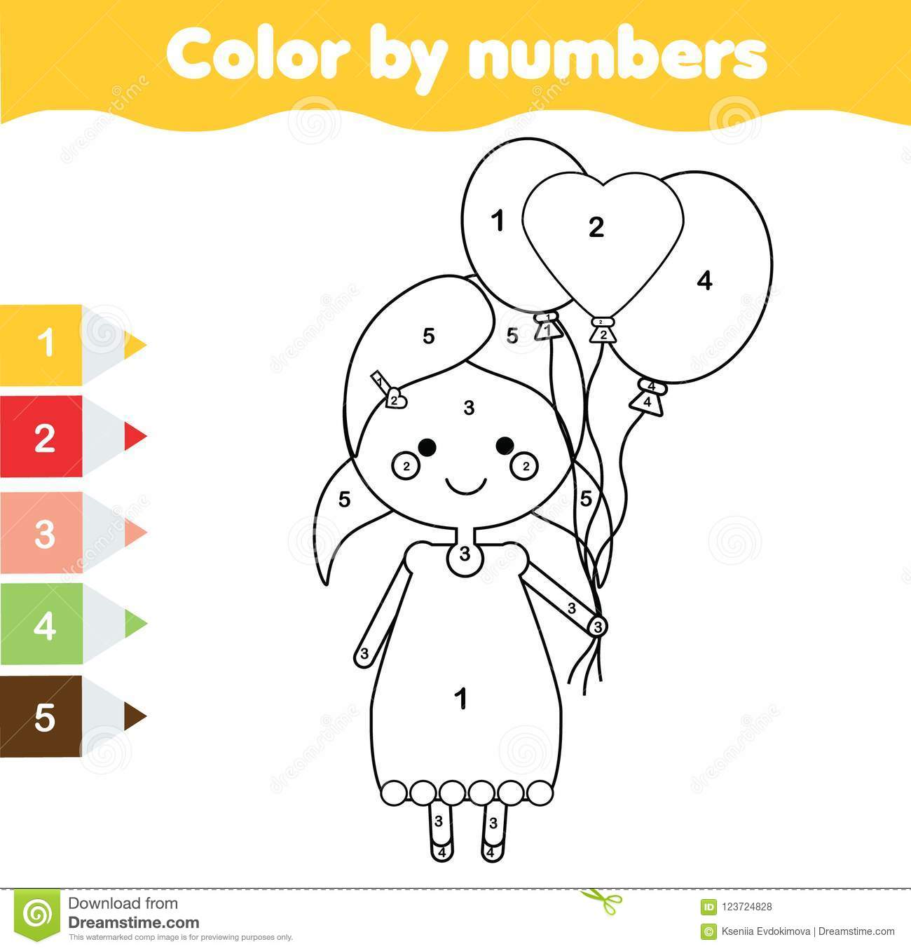 Coloring Page With Girl Holding Balloons Color By Numbers Printable