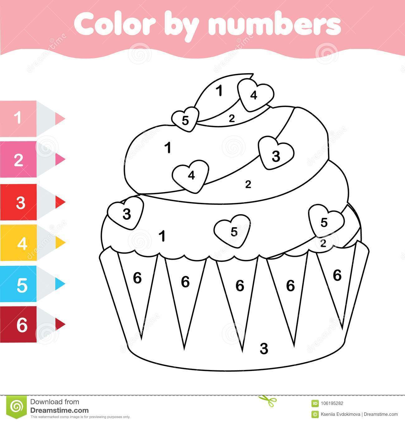 children educational game coloring page with valentine s day cupcake color by numbers. Black Bedroom Furniture Sets. Home Design Ideas