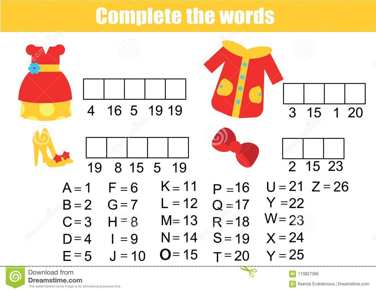 picture about Printable Vocabulary Game named Little ones Enlightening Match. Thorough The Terms. Outfits Topic