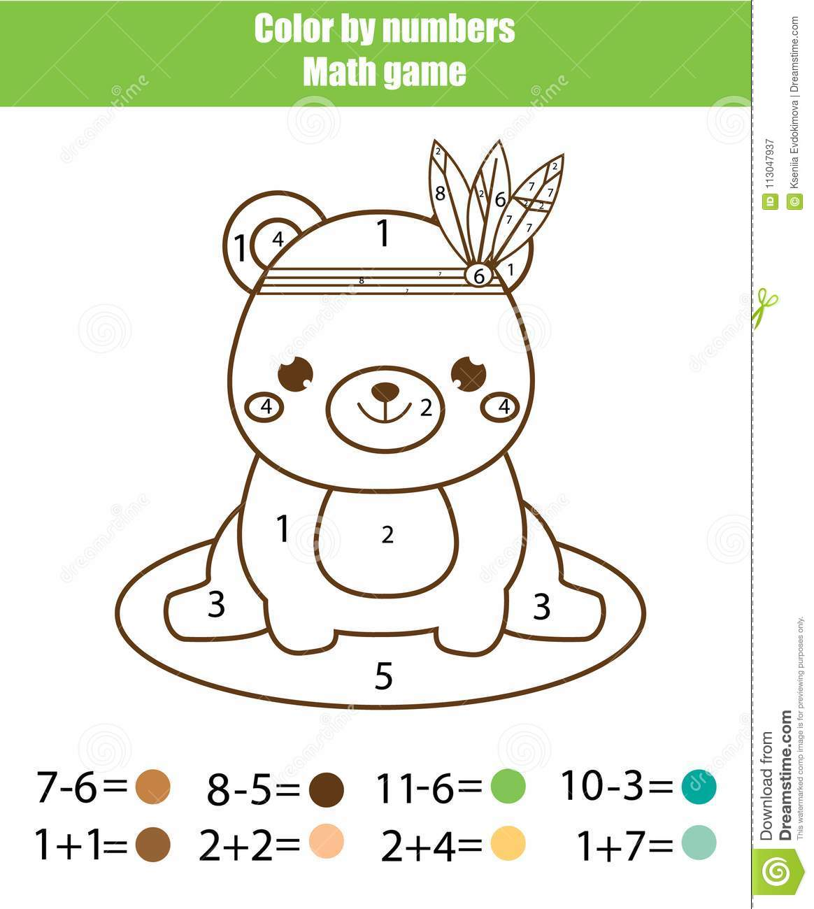 Children educational game mathematics actvity color by numbers printable worksheet coloring page