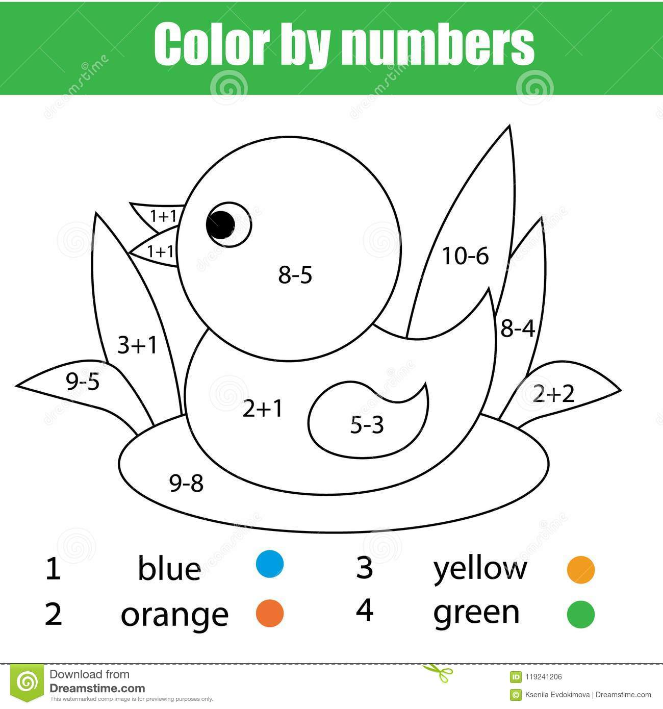 Children Educational Game Mathematics Coloring Page With Duck