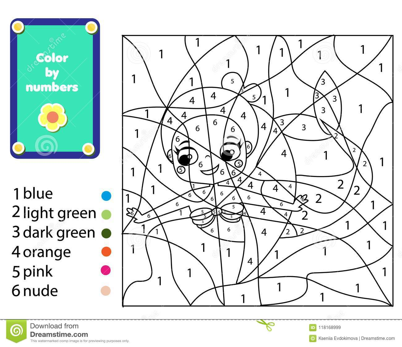 Children Educational Game. Mermaid Coloring Page. Color By Numbers ...