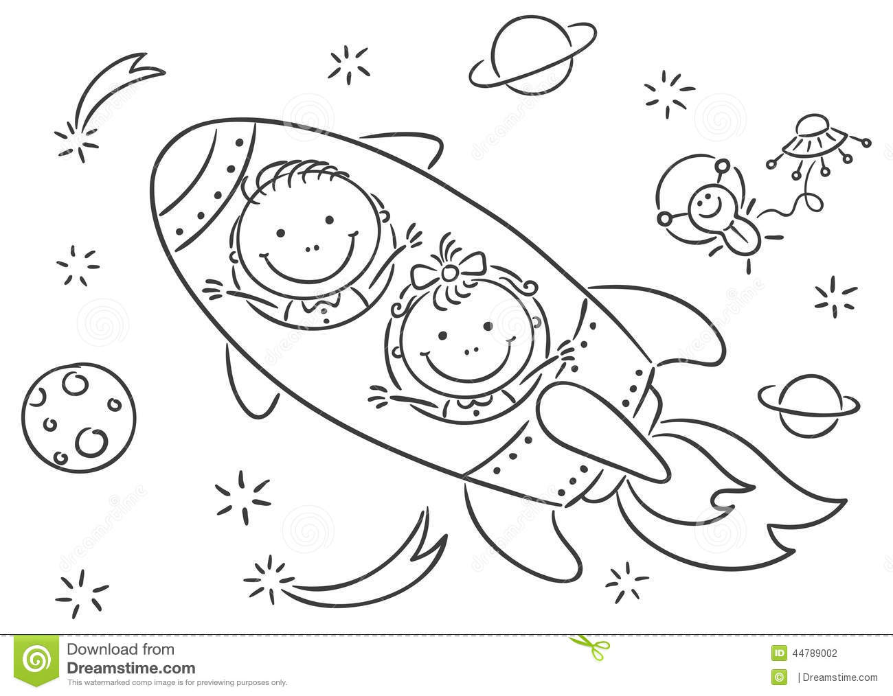 Children Exploring Space Stock Vector. Illustration Of