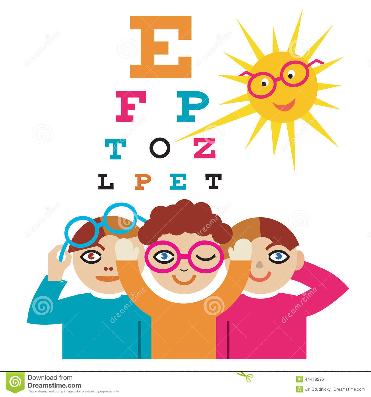 Children at the eye doctor stock vector illustration of children at the eye doctor nvjuhfo Choice Image