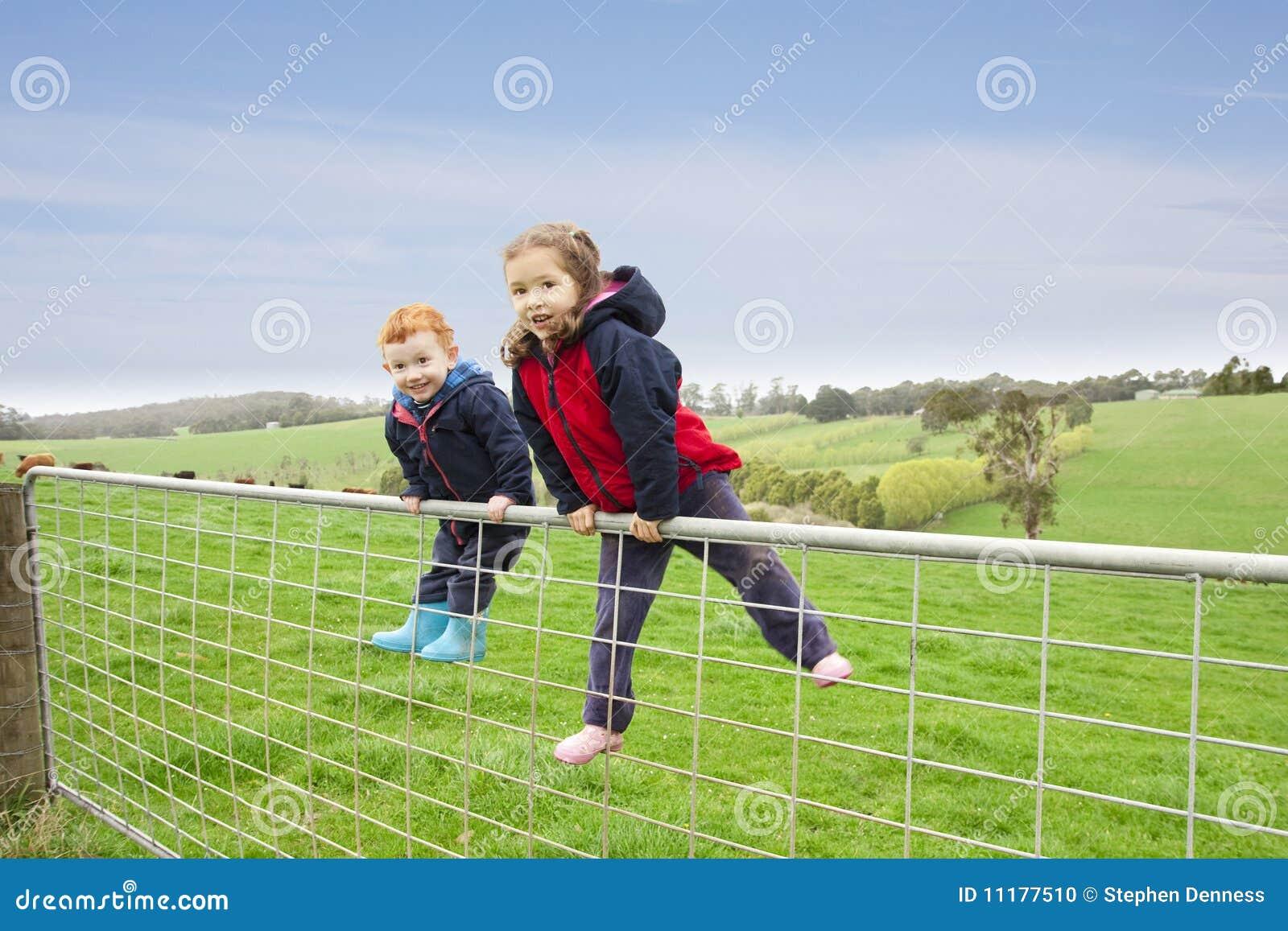 Children on farm gate