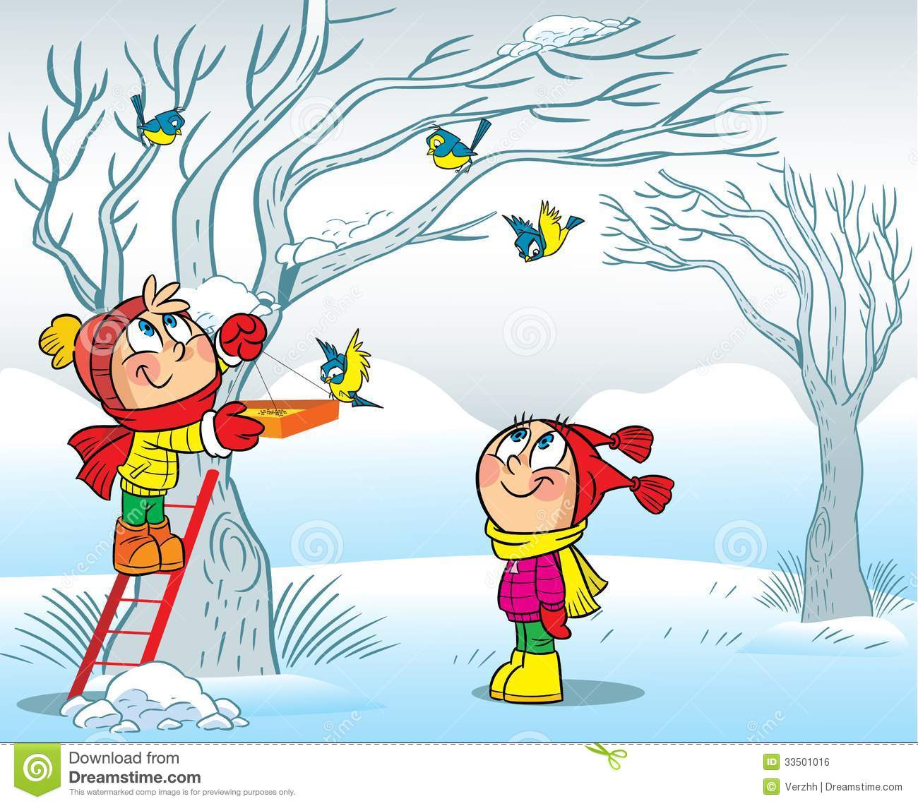 Children Fed Birds In Winter Royalty Free Stock Image