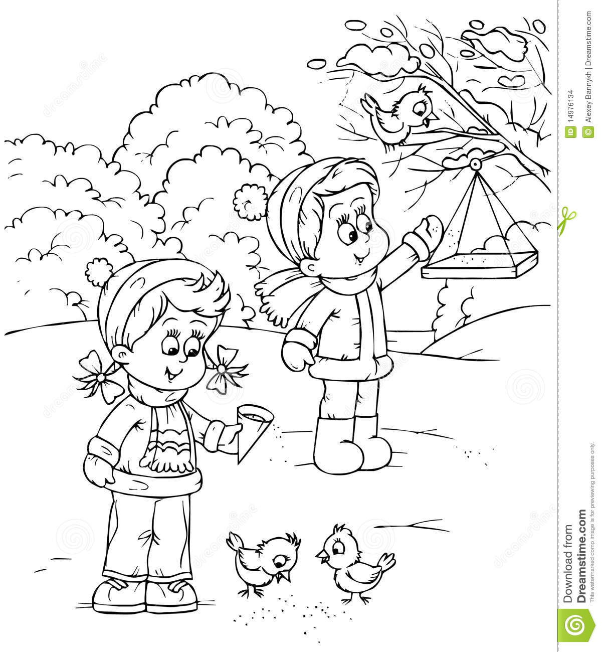 Download Children Feed Birds Stock Illustration Of Book