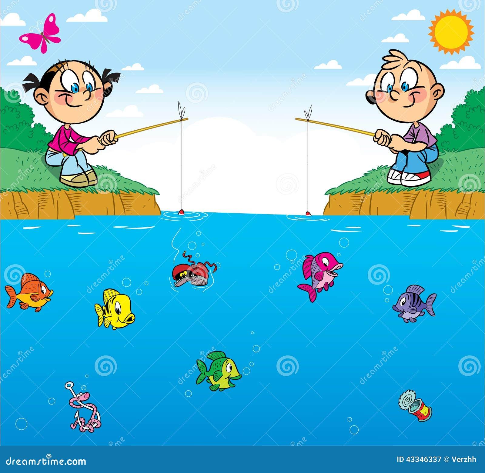 Children On Fishing Stock Vector - Image: 43346337