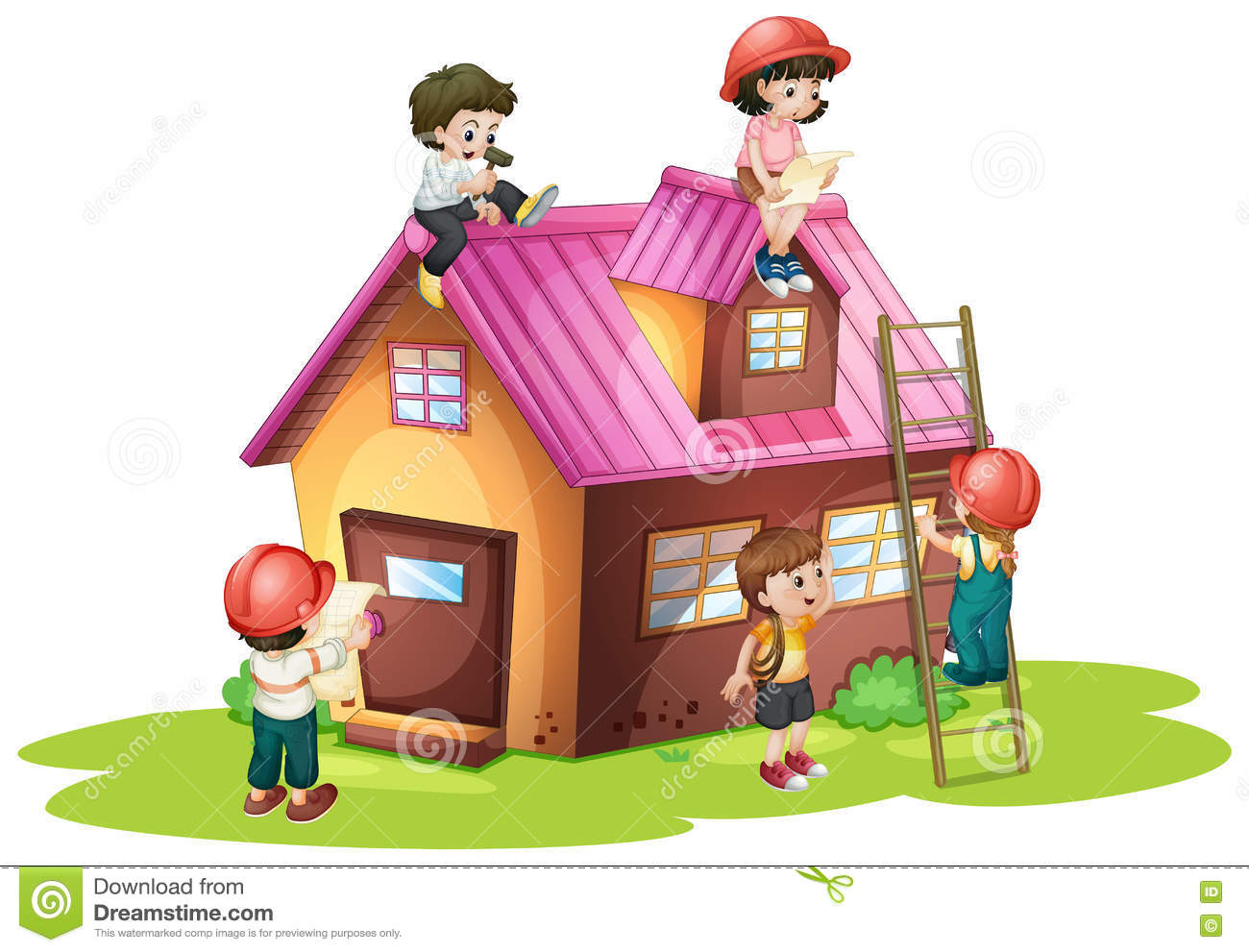 Children fixing and building house stock vector for Build a home