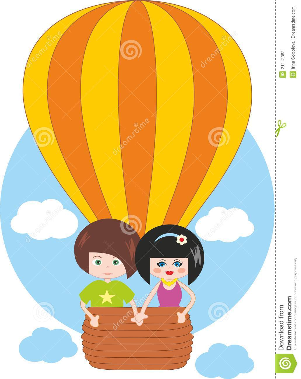 Children Flying On Hot Air Balloon Stock Photos - Image ...
