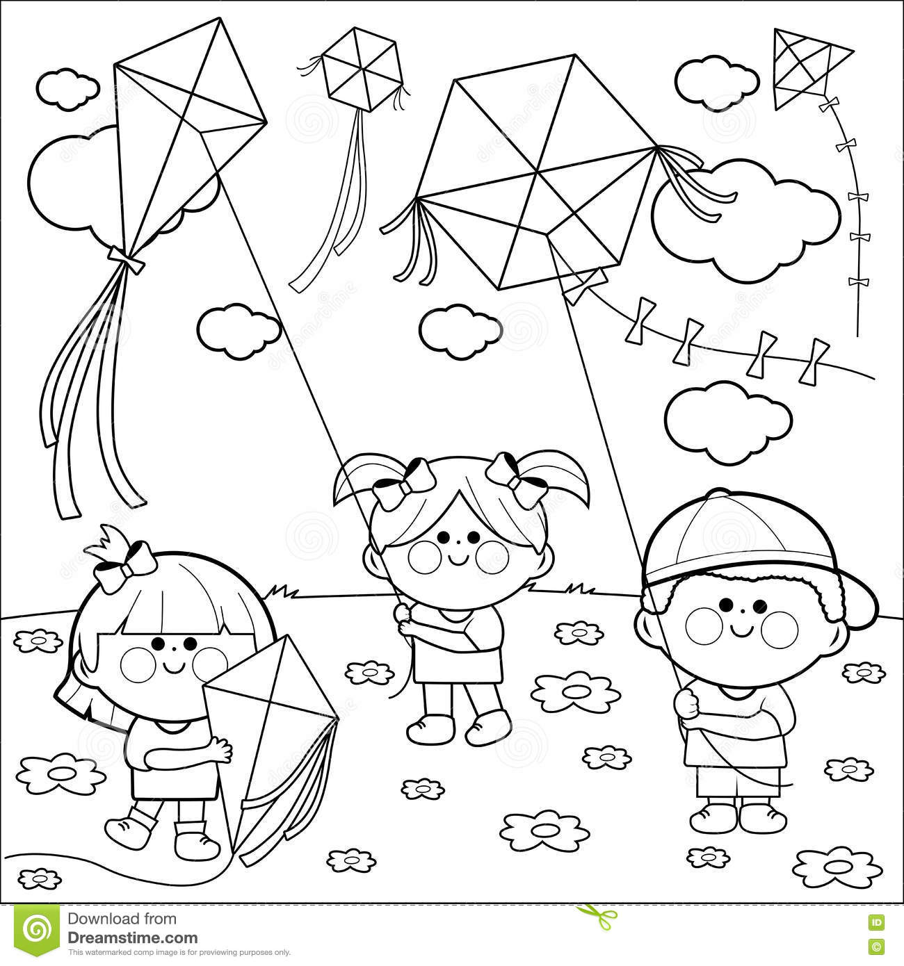 Children Flying Kites Coloring Book Page Stock Vector Image