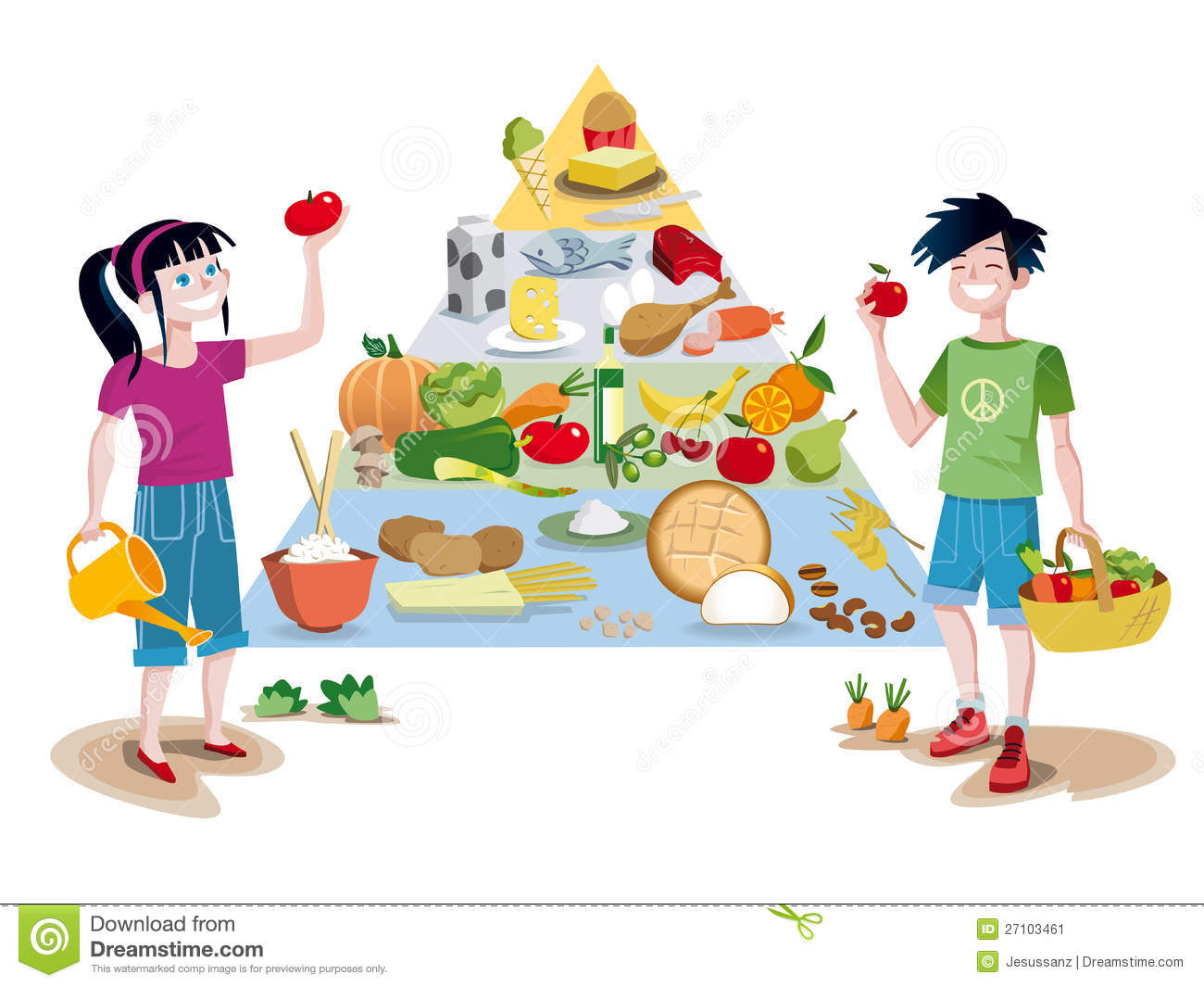 Children And Food Guide Pyramid Stock Vector Illustration Of Childs Eggs 27103461