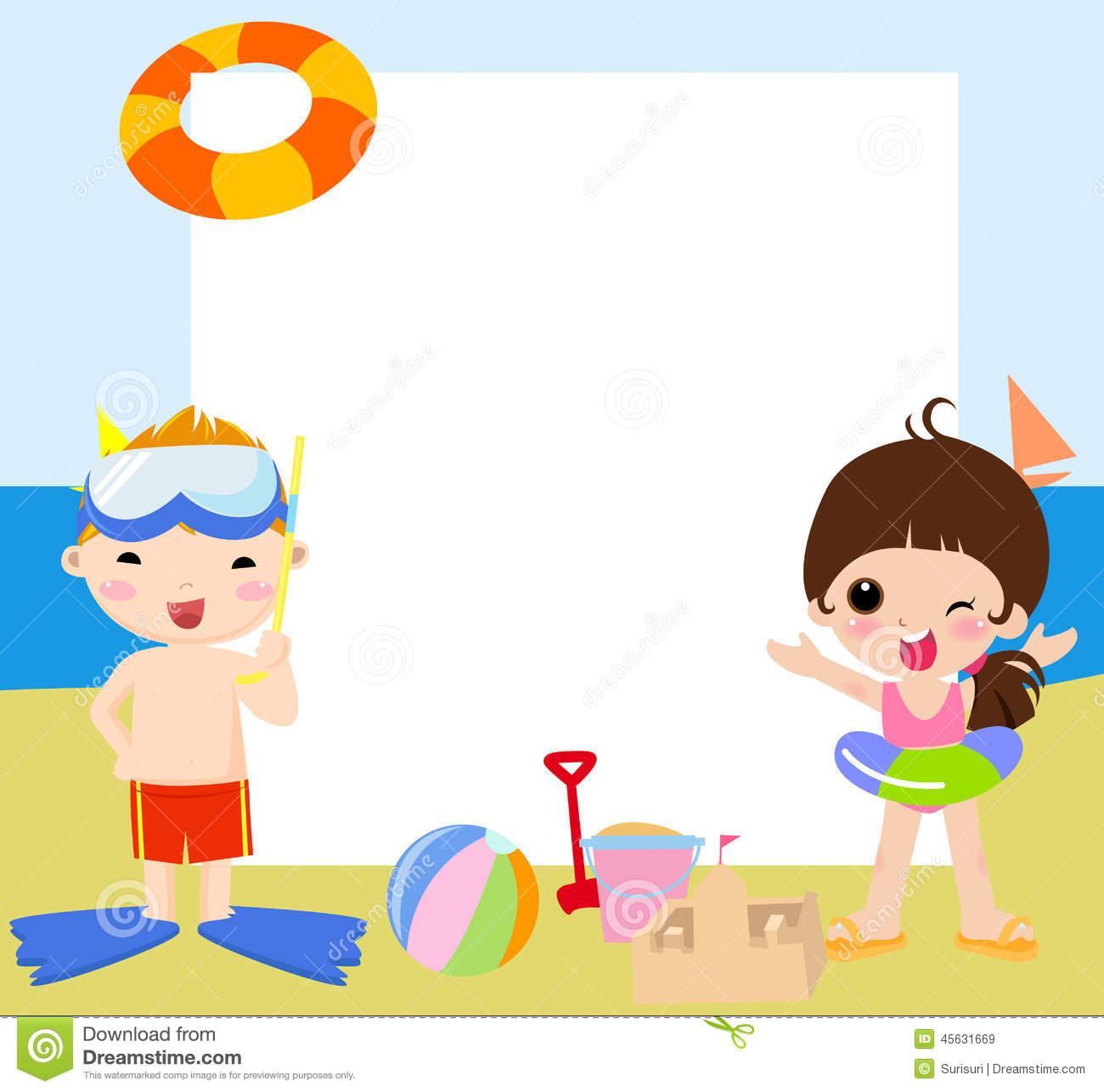 Children And Frame Summer Stock Vector Image 45631669
