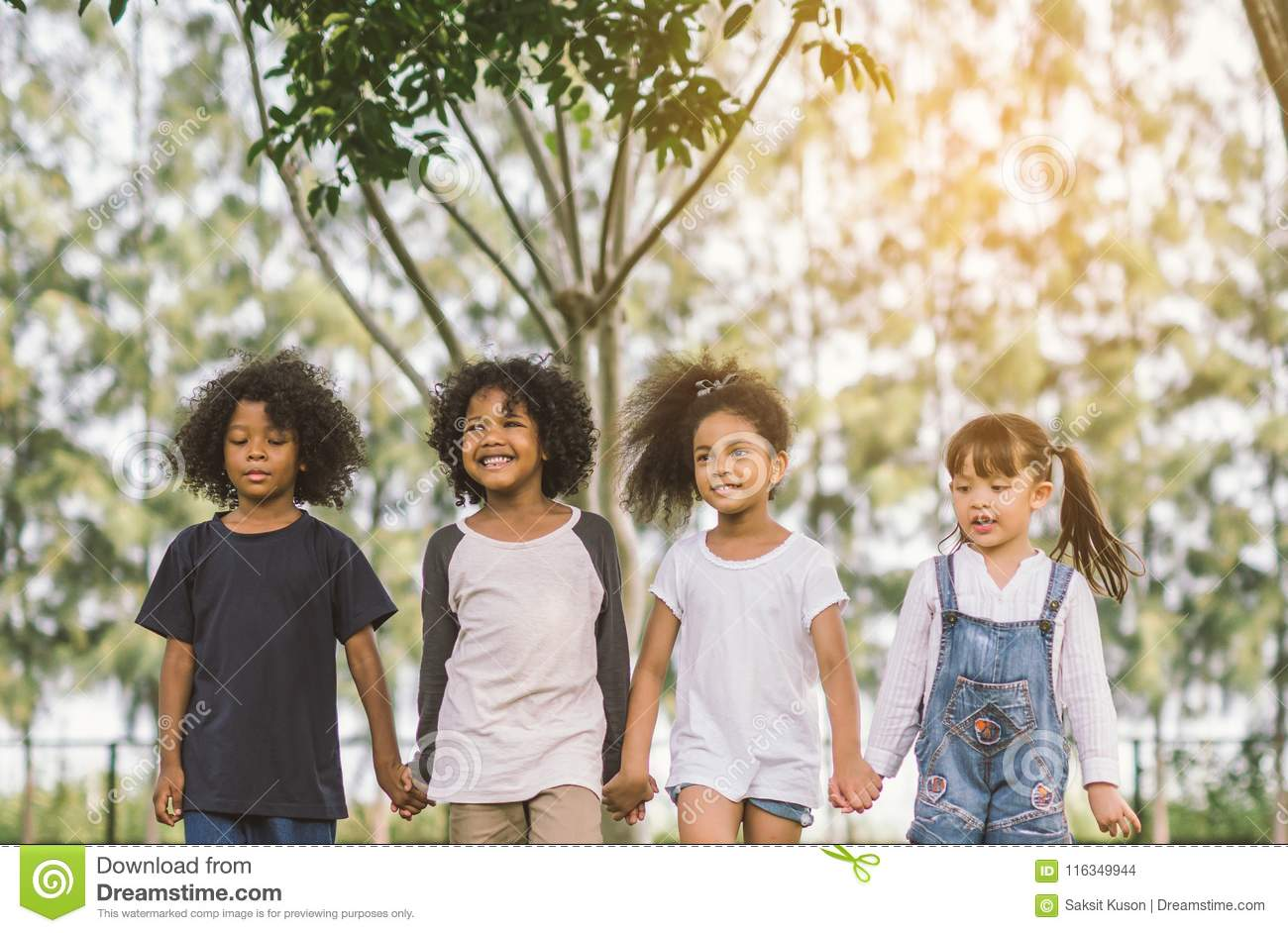 Children Friendship Hold Hand Together Stock Photo Image Of
