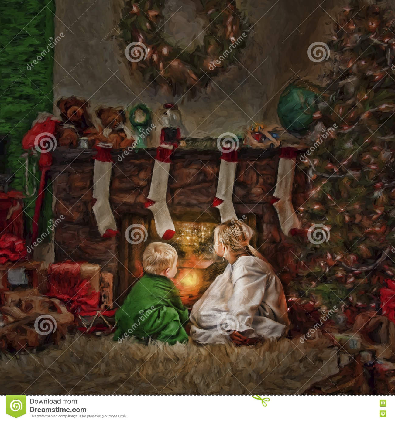 Children in front of fire at Christmas