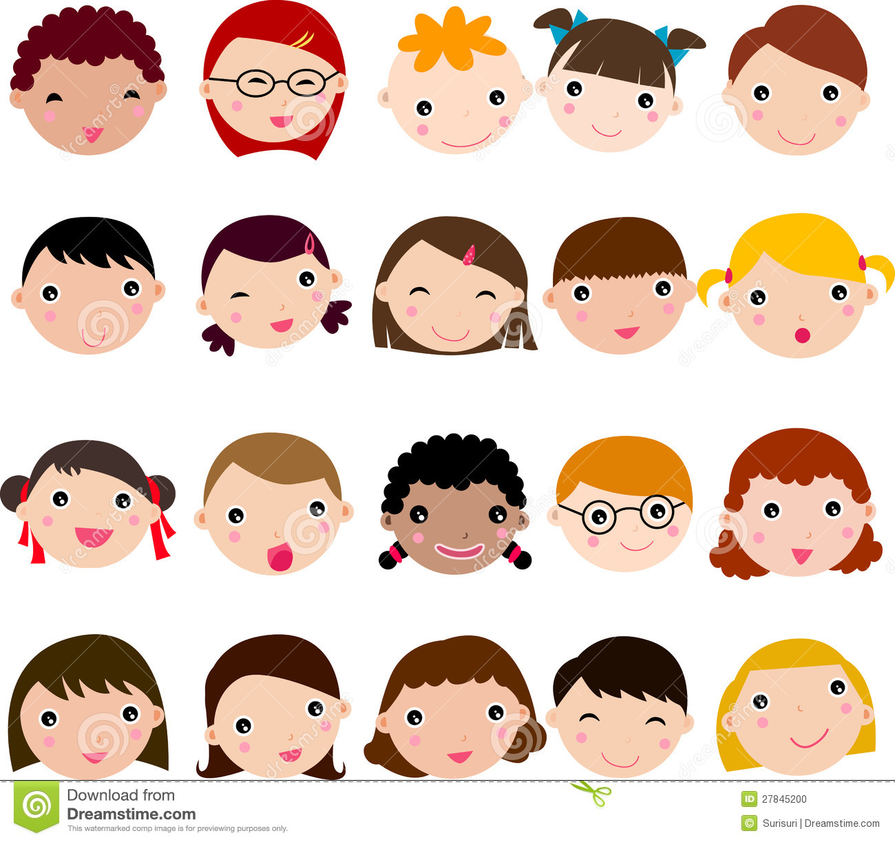 children funny faces stock vector illustration of cheerful 27845200