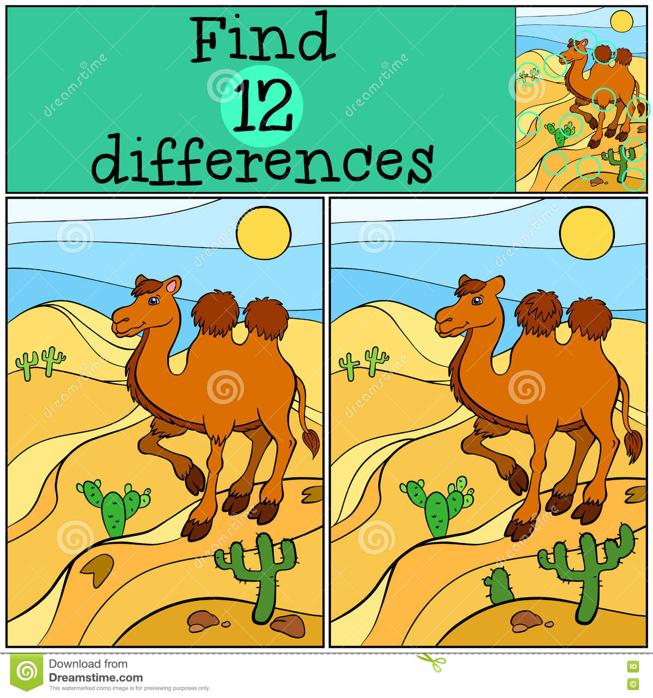 Children games: Find differences. Cute camel.