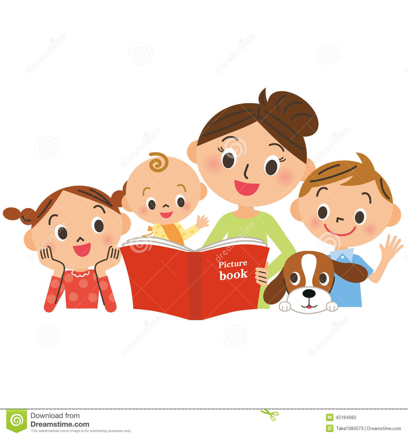 Children Gathering For Mother Reading A Picture Book Stock ...