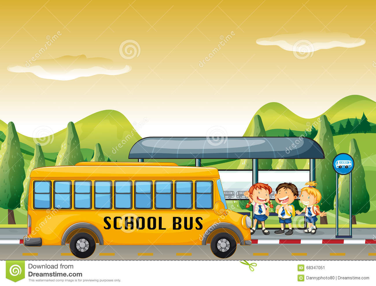 Children Getting On School Bus At Bus Stop Stock Vector