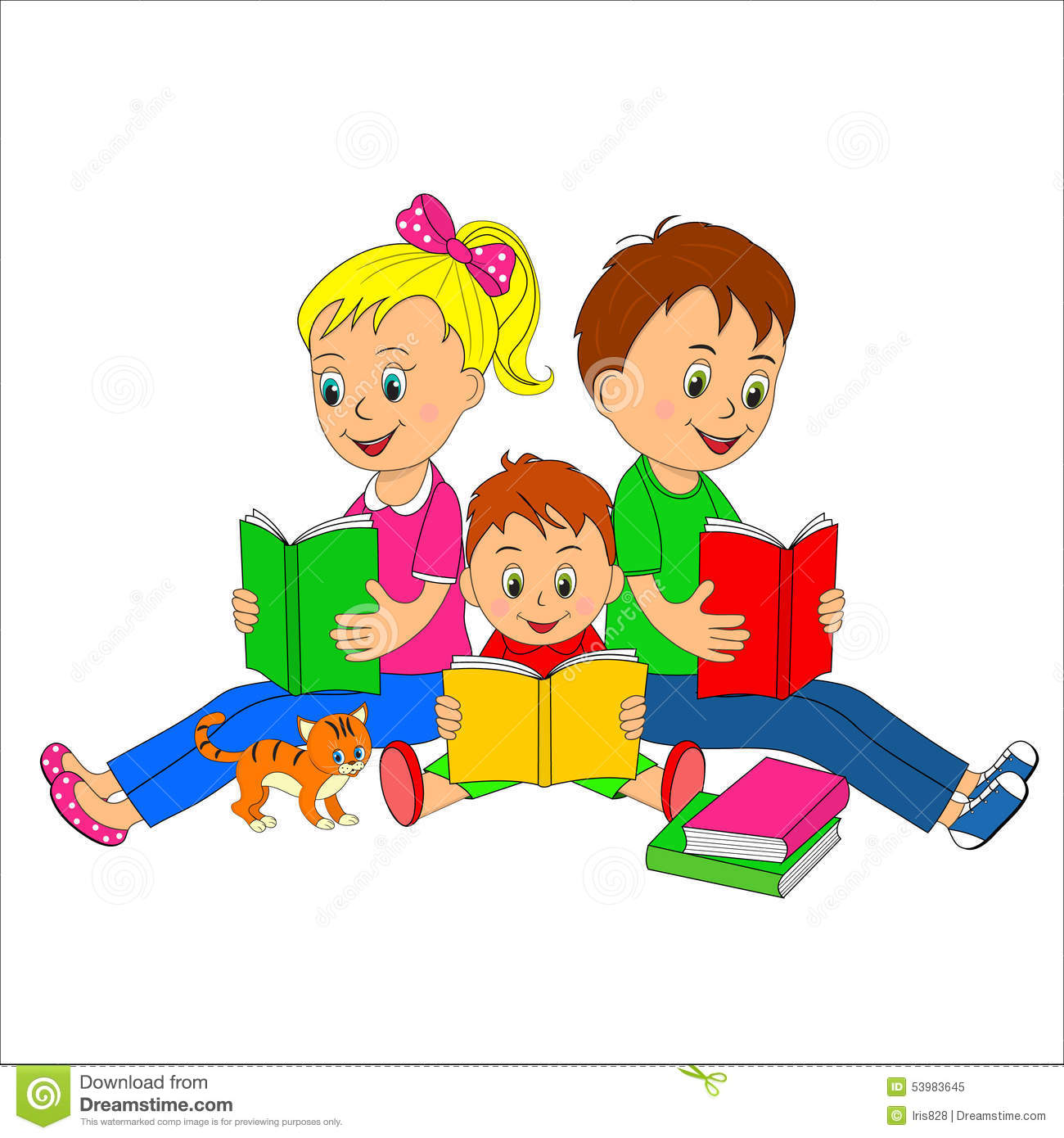 Children Girl And Boys Read The Book Stock Illustration