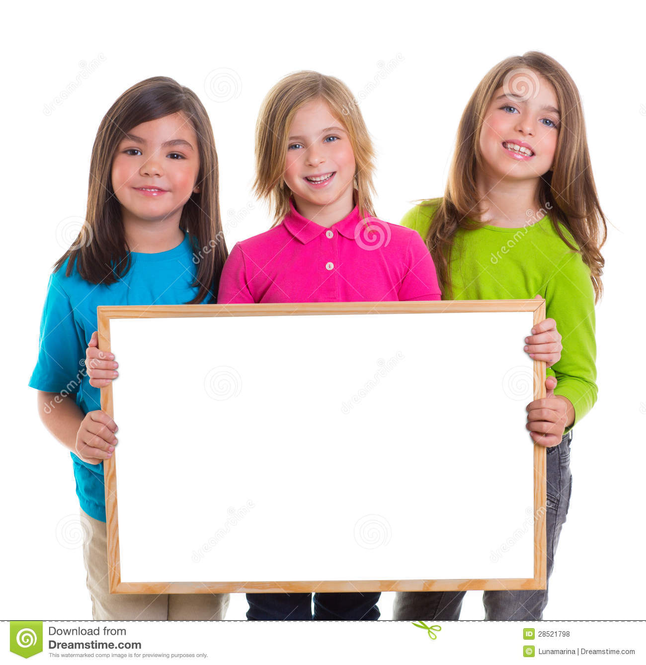 children girls group holding blank white board copy space royalty free stock photos - Free Children Images