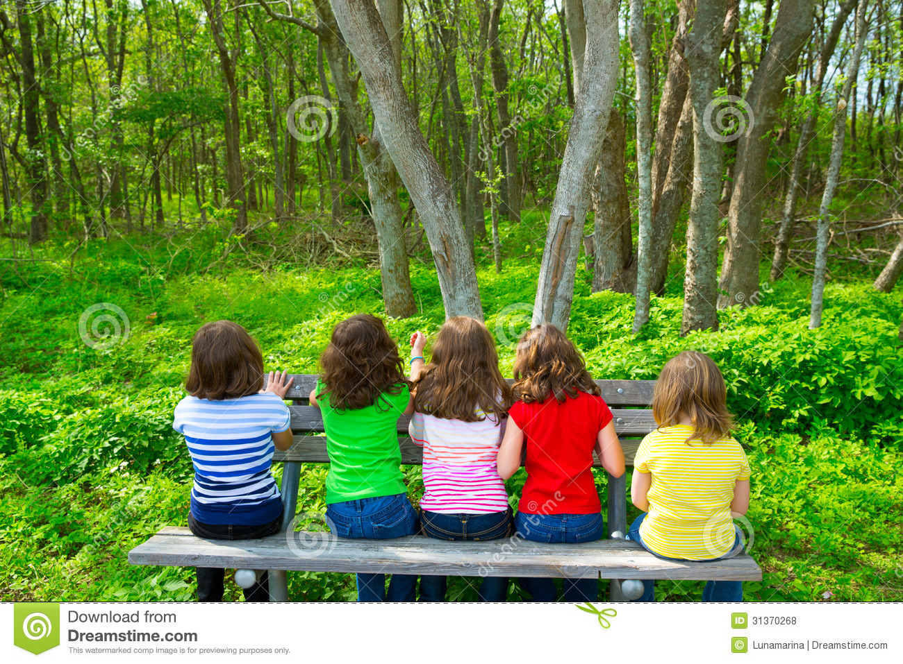 Children Girls Sitting On Park Bench Looking At Forest Royalty Free Stock Photos - Image: 31370268