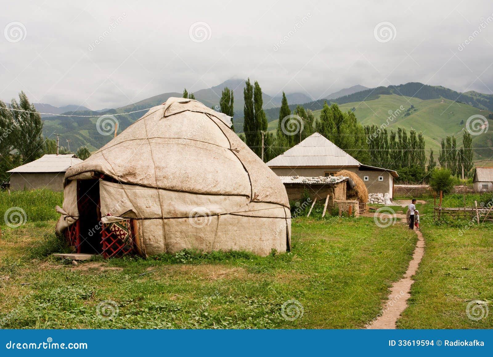 Children Go Away Past Central Asian Yurt Village House
