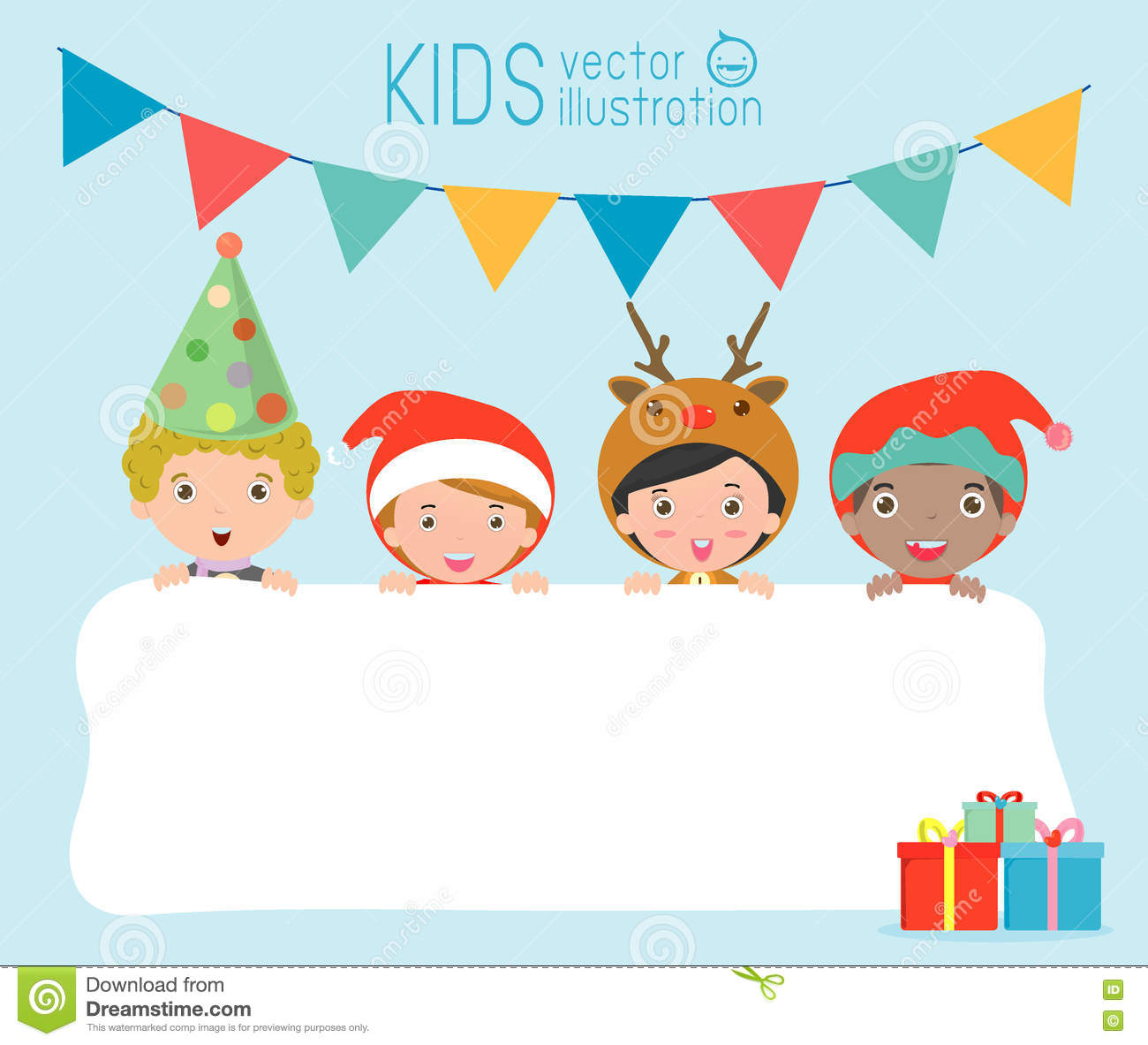children and greeting christmas and new year card kids peeping behind placard kids in christmas costume characters celebrate cute little christmas