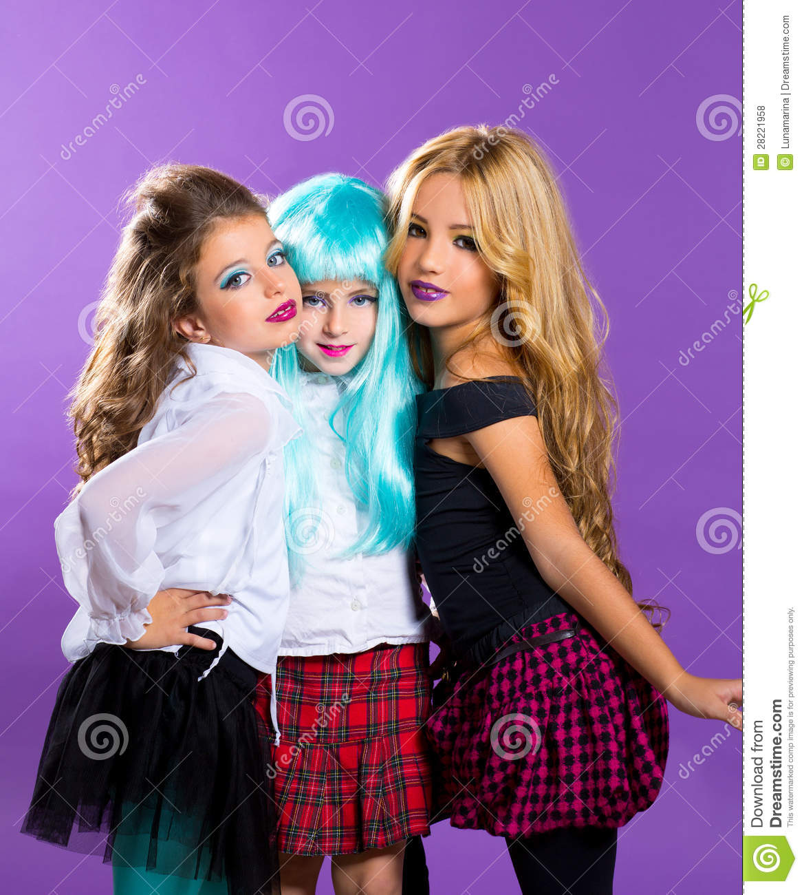 Children Group Of Fashiondoll Fashion Girls On Purple Royalty Free Stock Photos Image 28221958