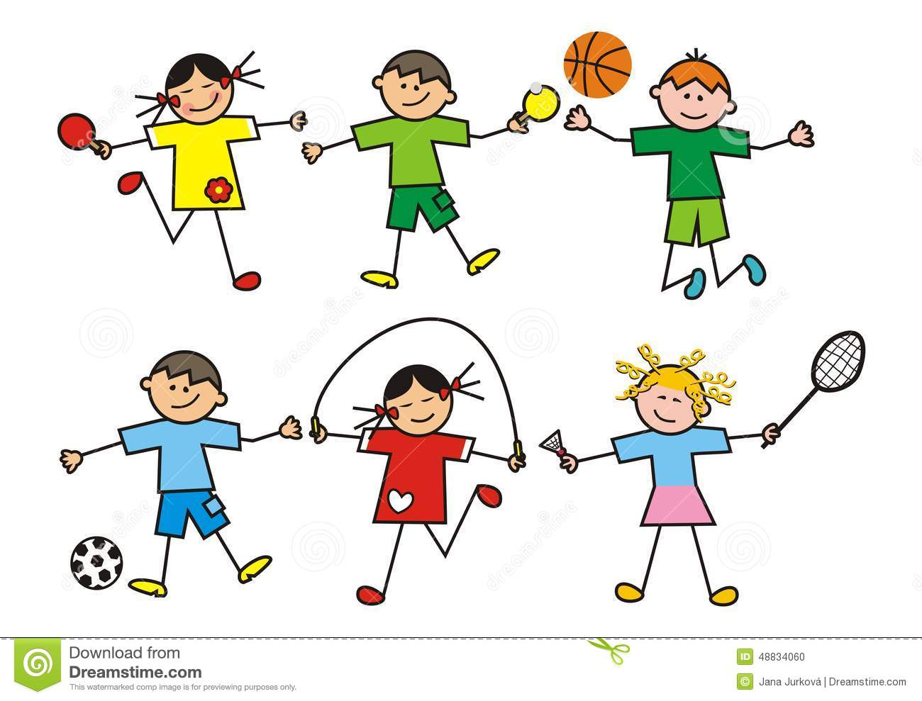 Children Group Stock Vector Illustration Of Group Contour 48834060
