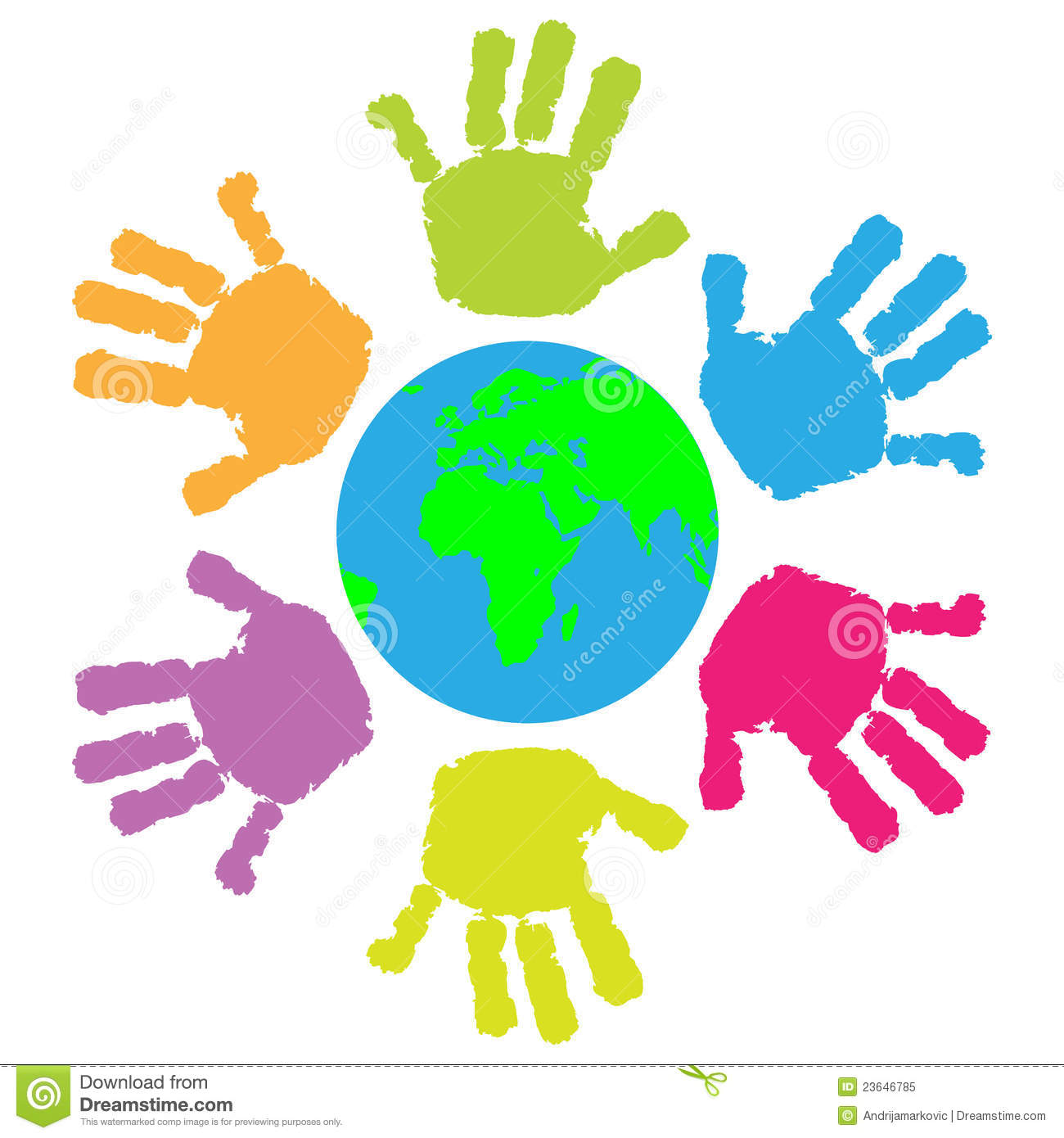 Children Hand Print Around The Earth Royalty Free Stock Photo - Image ...