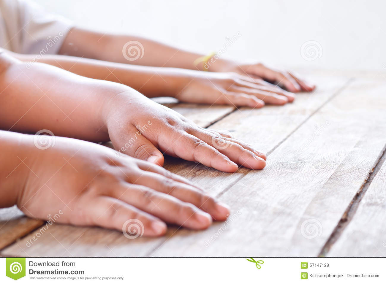 Children Hands On Wood Table. Stock Photo - Image of ...