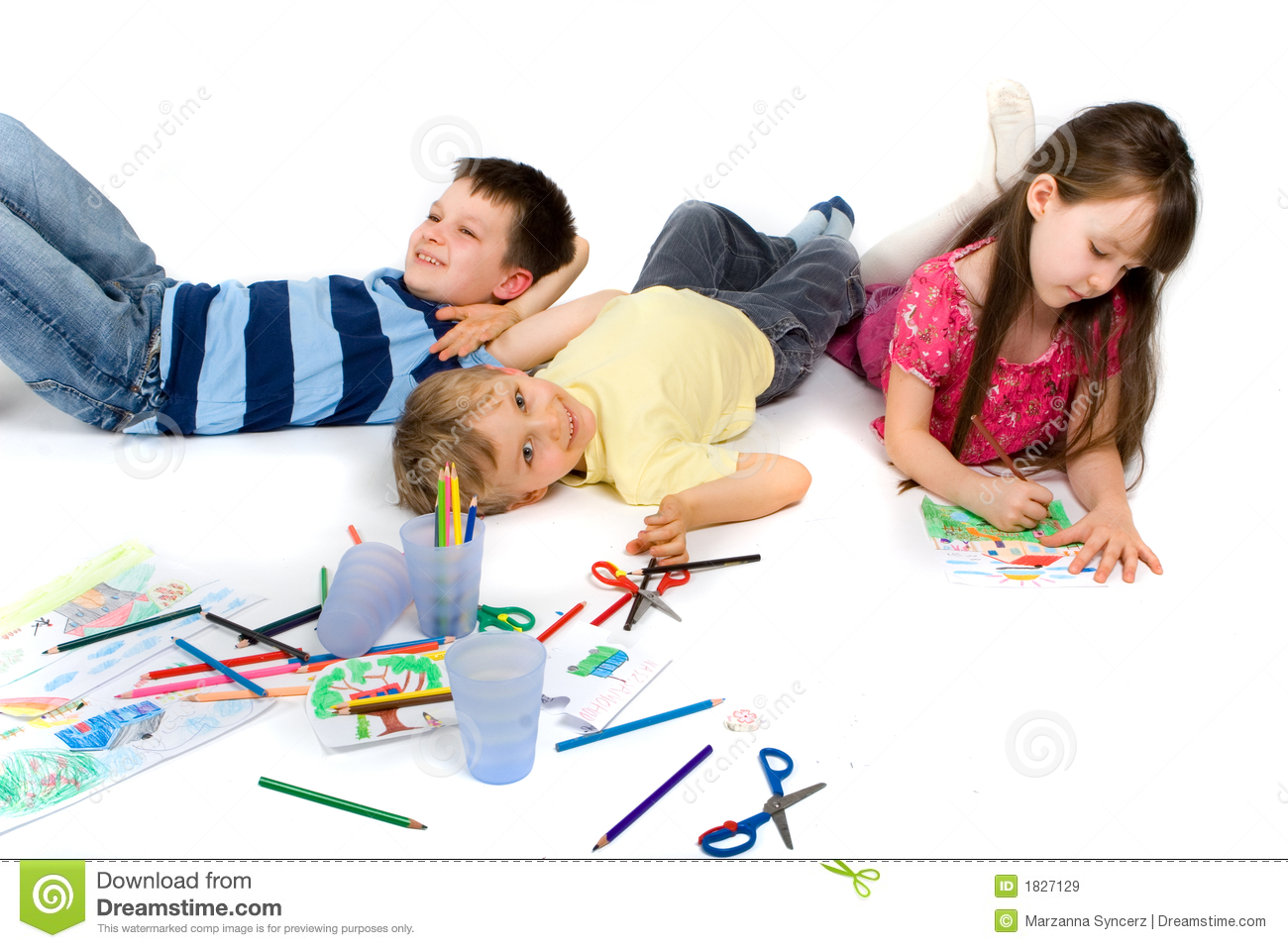 Children Happily Playing on Floor