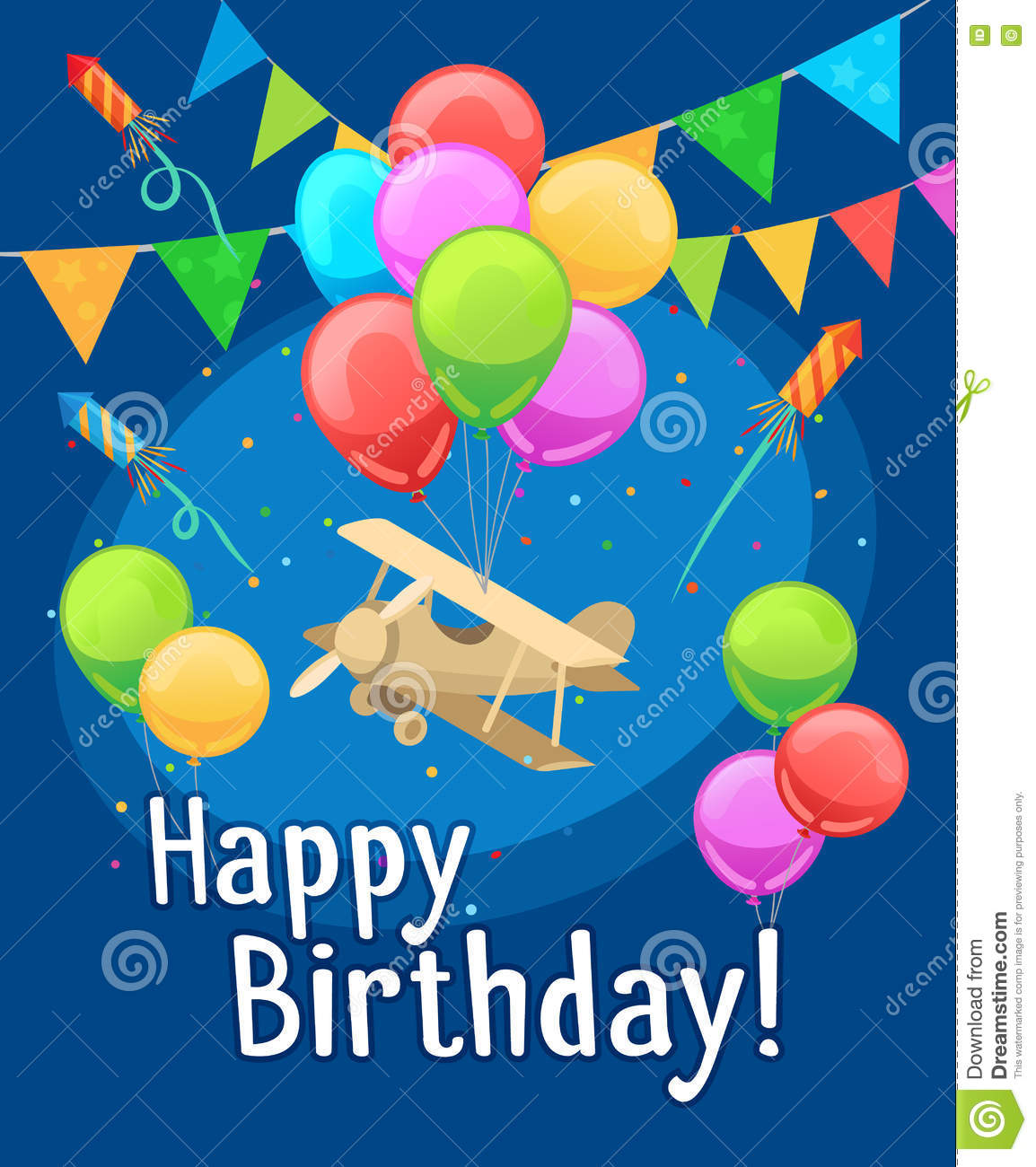 6 Birthday Card Templates: Children Happy Birthday Card With Balloons Stock Vector