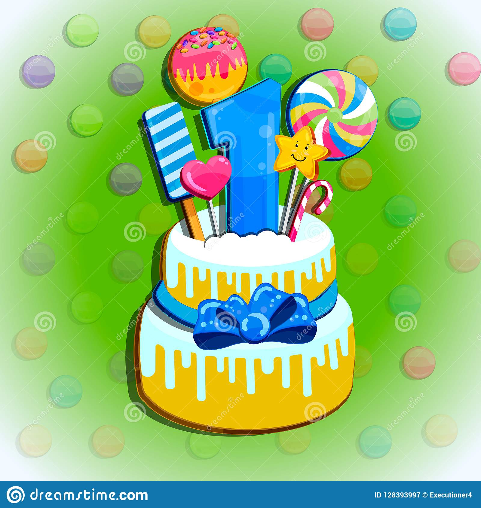Children Happy Birthday Greeting Card Vector Set Of Colorful
