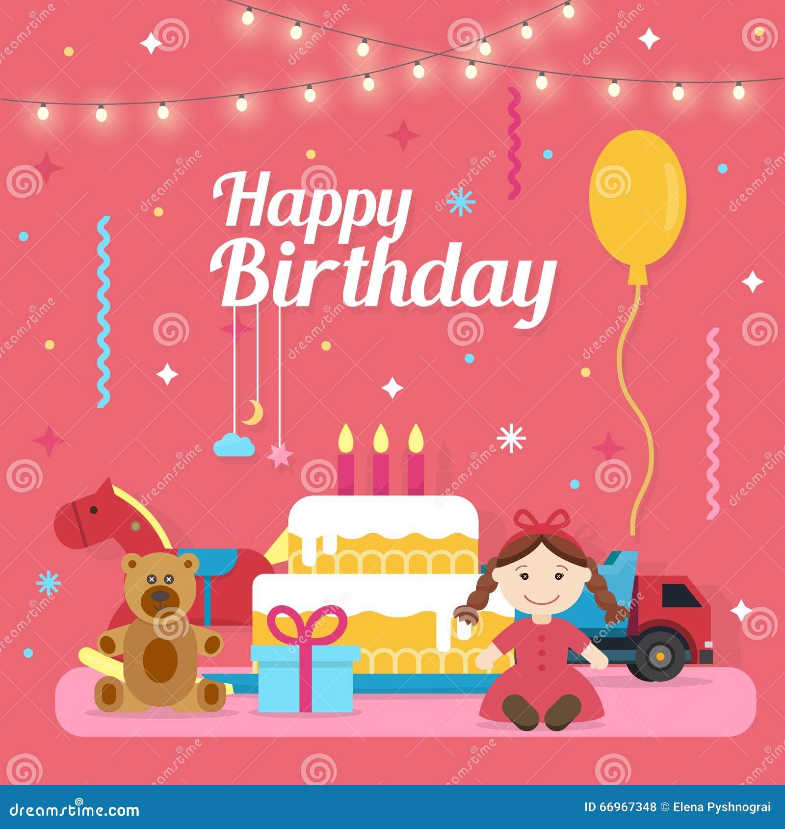 Birthday Celebration Chicago Style: Children Happy Birthday Icons Set Stock Vector