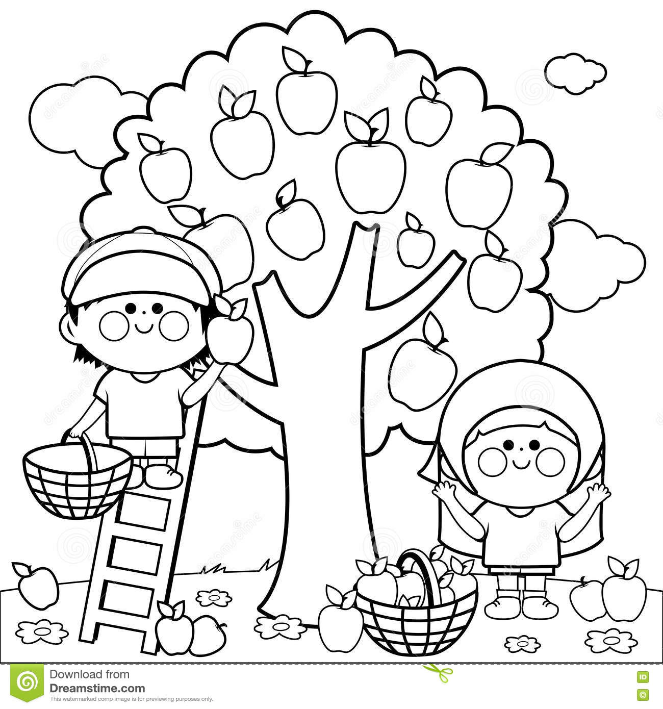 Children Harvesting Apples Coloring Book Page Stock Vector