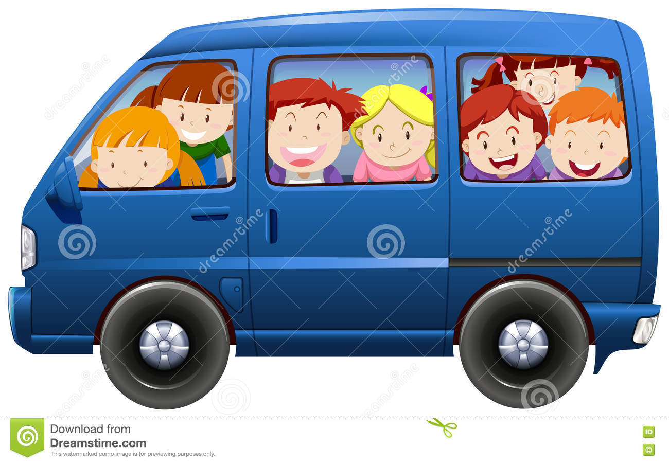 a9fd5bfdf4 Children Having Carpool In Blue Van Stock Vector - Illustration of ...