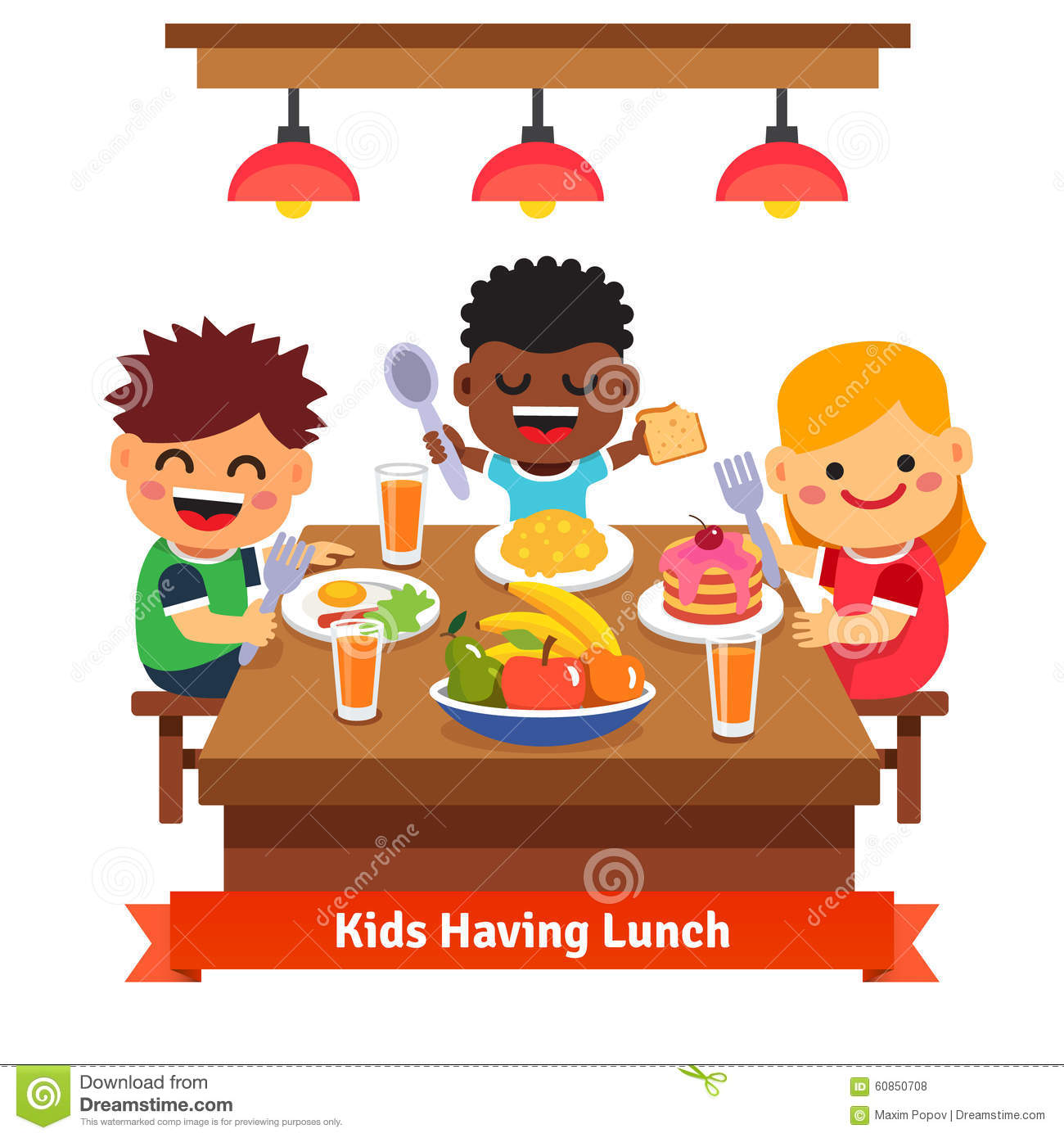 Children Having Dinner At The Kindergarten Of Home Stock  : children having dinner kindergarten home kids eating smiling flat style cartoon vector illustration white 60850708 from dreamstime.com size 1300 x 1390 jpeg 146kB