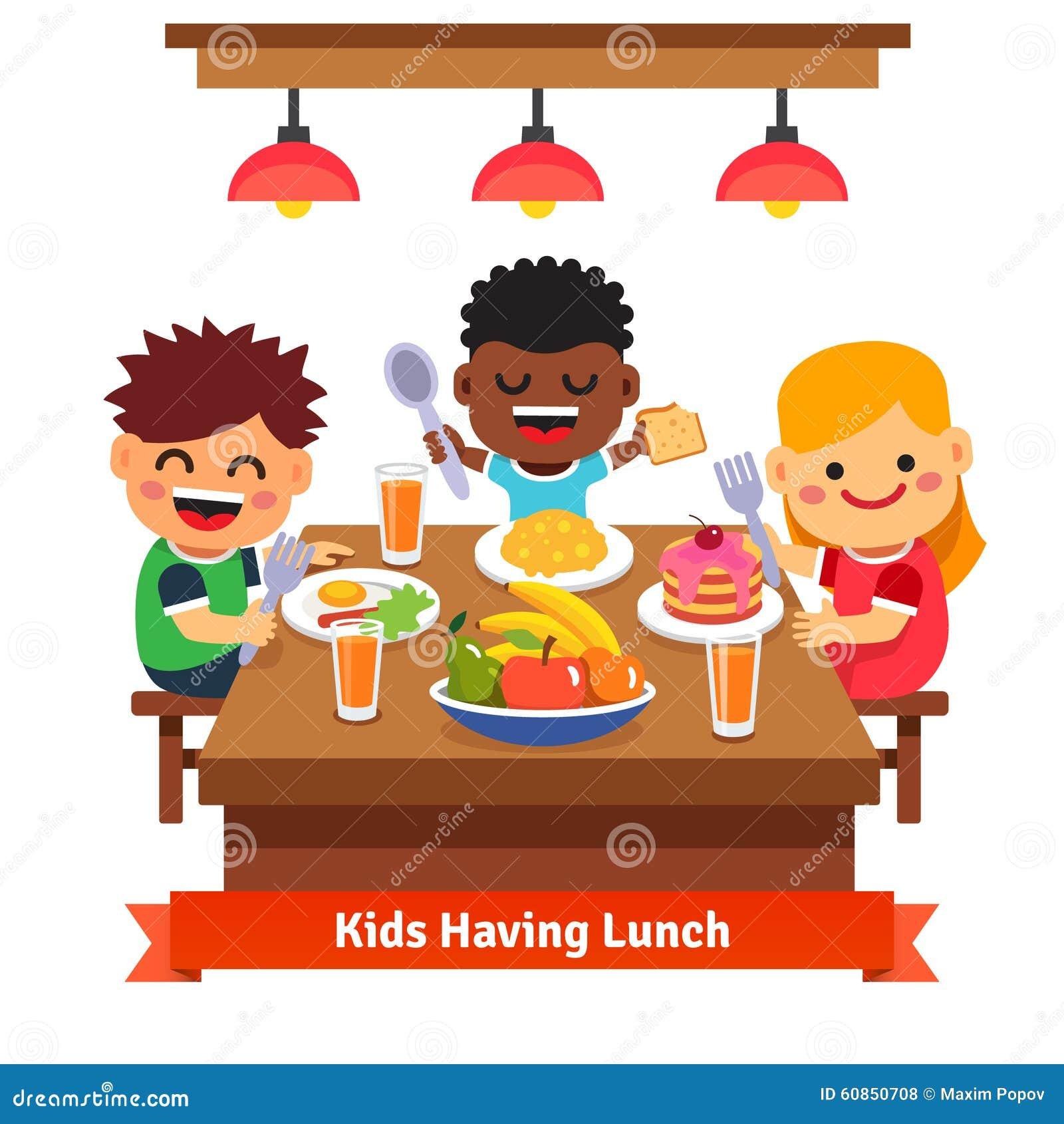Children Having Dinner At The Kindergarten Of Home Stock  : children having dinner kindergarten home kids eating smiling flat style cartoon vector illustration white 60850708 from www.dreamstime.com size 1300 x 1390 jpeg 146kB