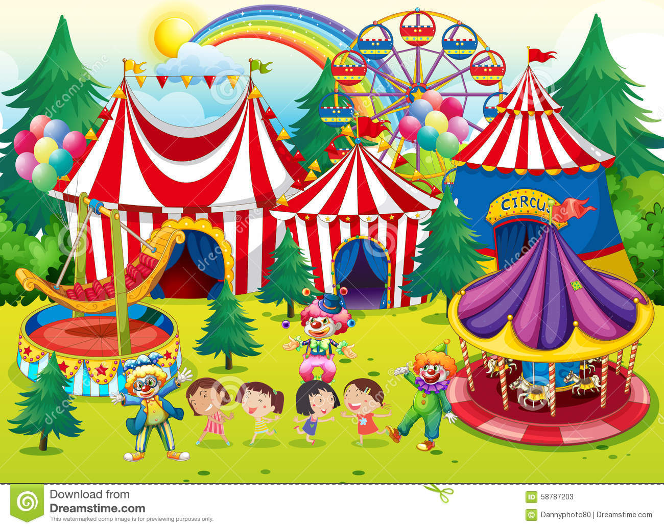Children having fun at the circus stock vector image - Circo joker immagini bambini ...