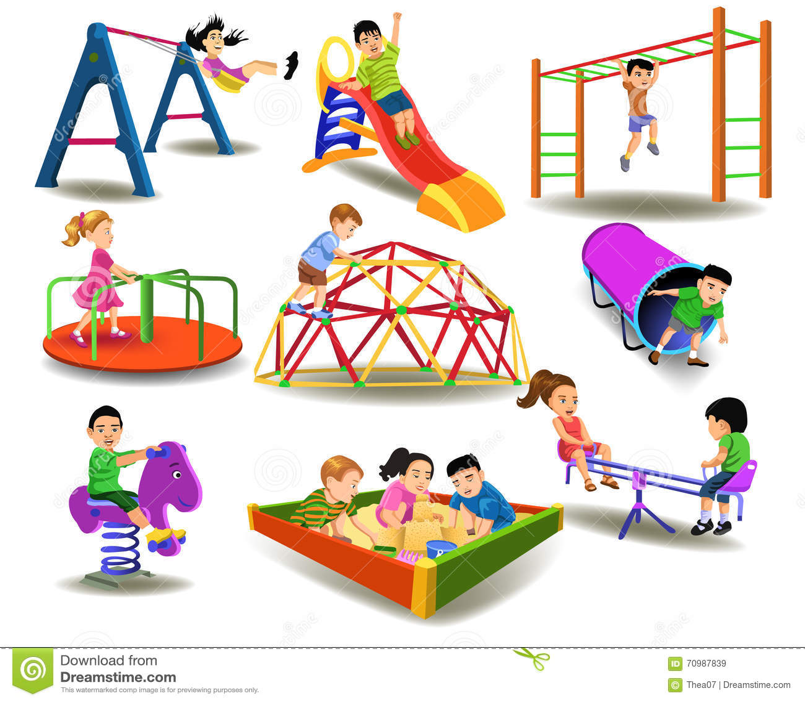 Children Having Fun At The Playground Stock Vector Image