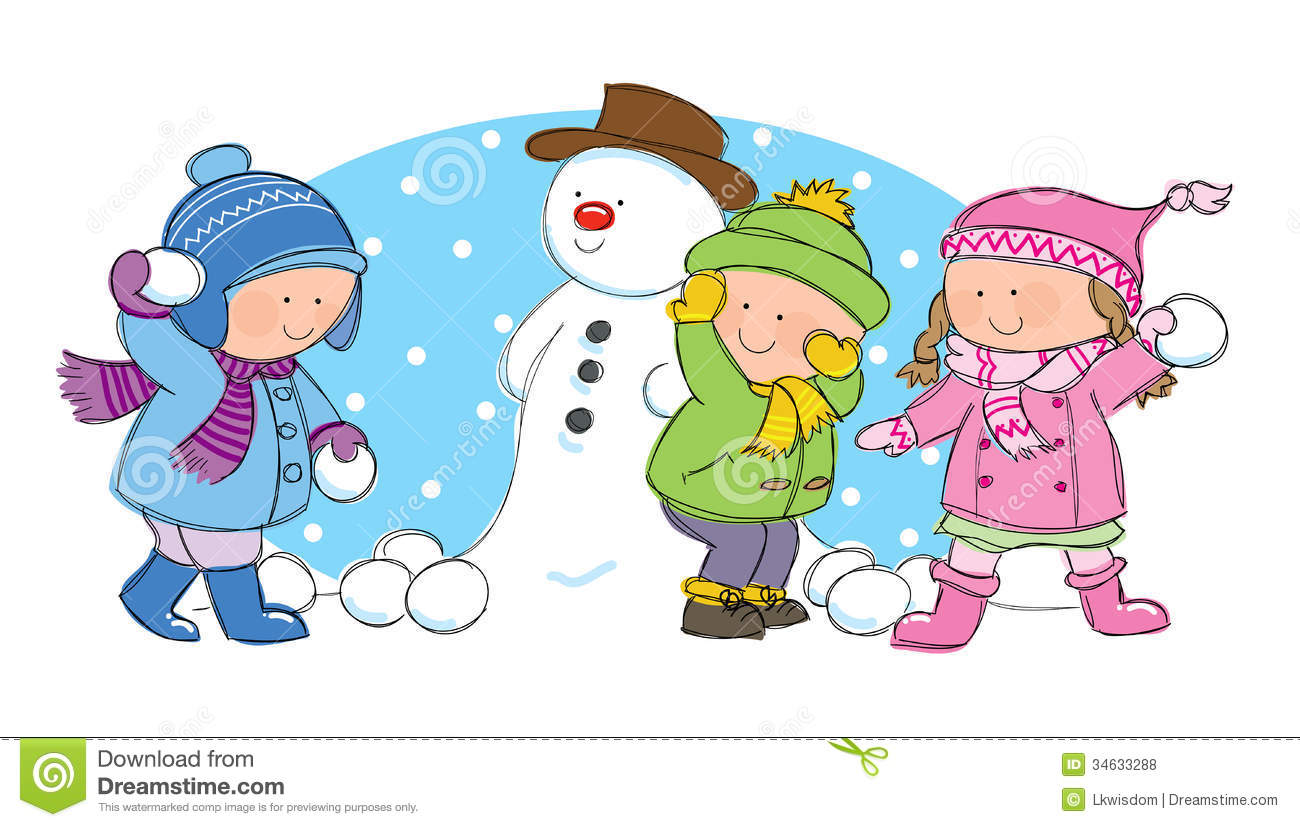 Hand drawn picture of children having a snowball fight in winter scene ...