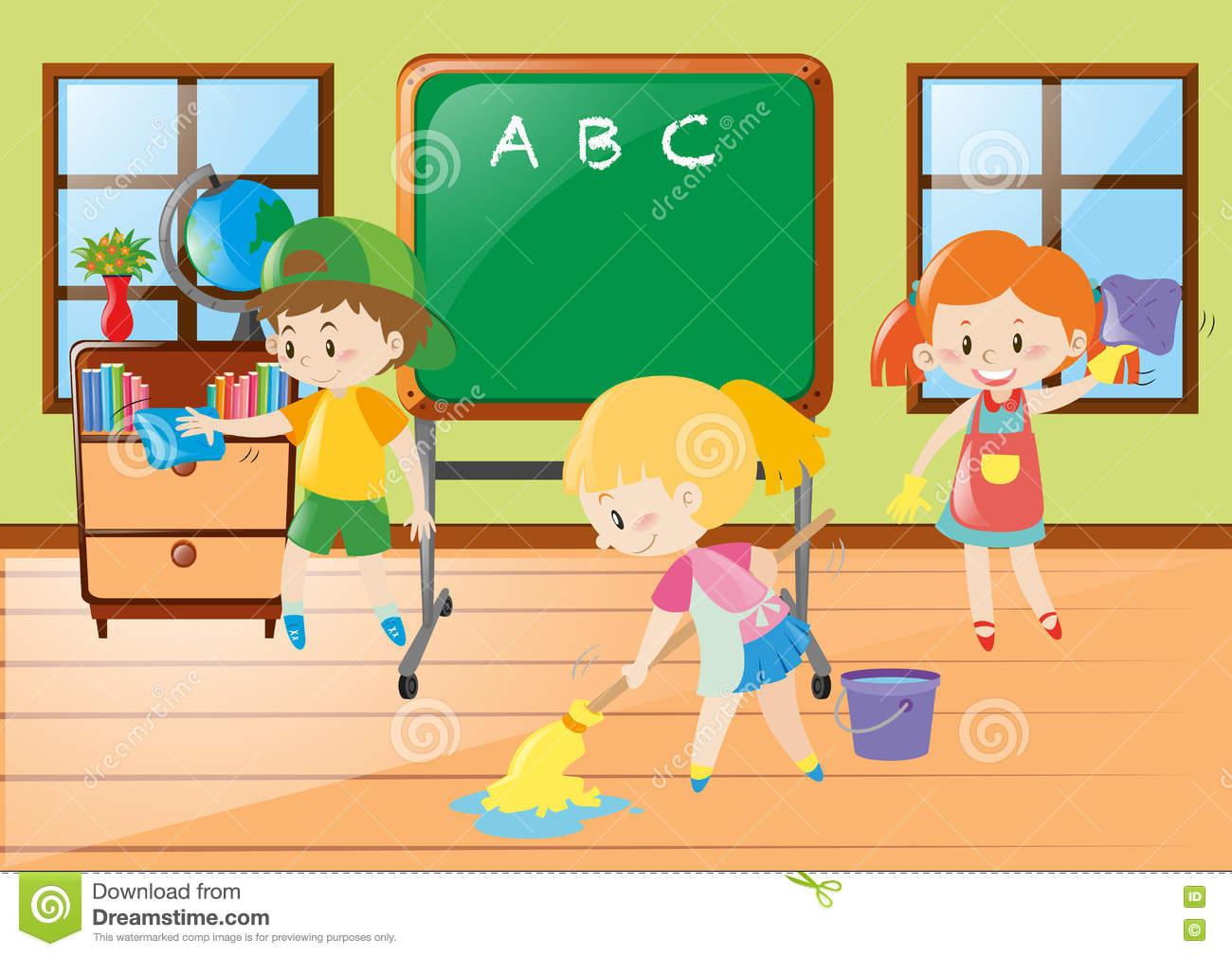 Children Help Cleaning Classroom Stock Vector Illustration Of Kids