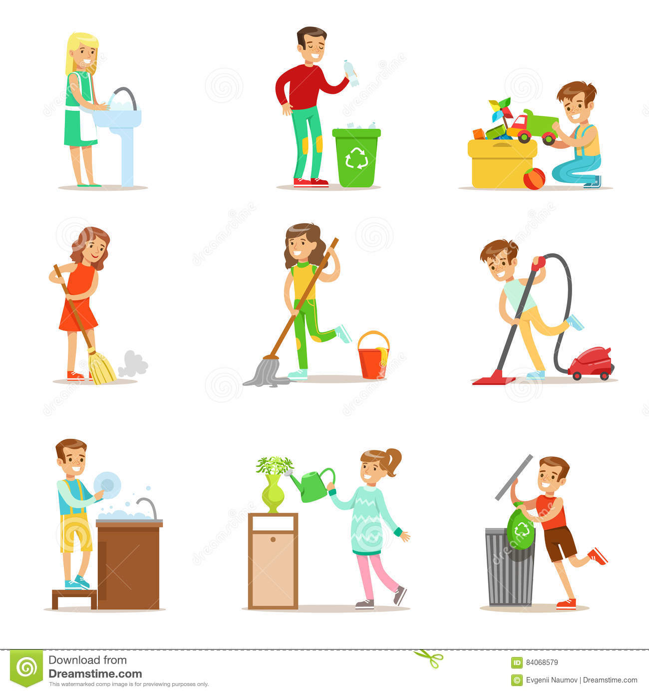 Children Helping With Home Cleanup, Washing The Floor ...
