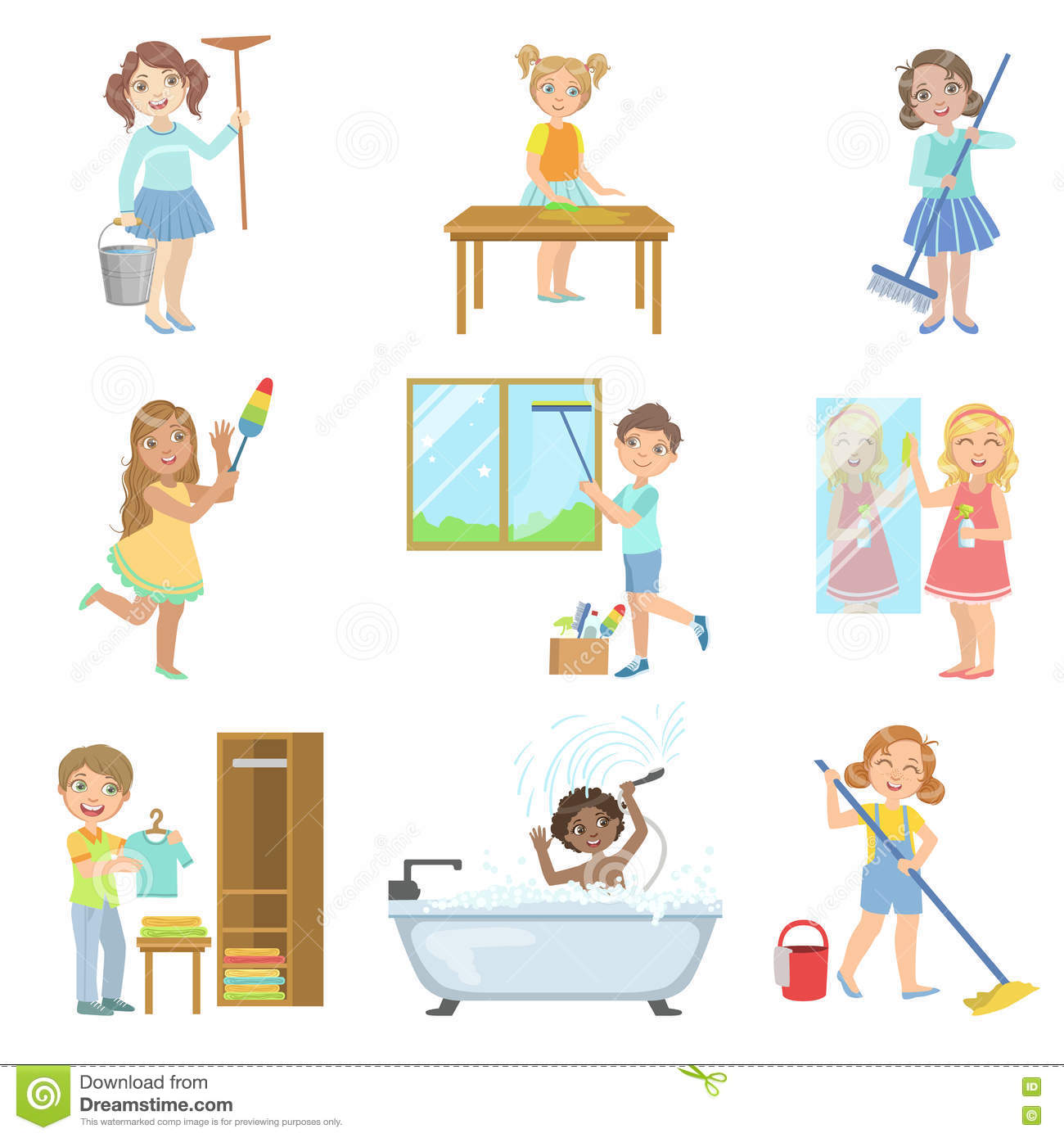 Children Helping With Spring Cleaning Stock Vector Image