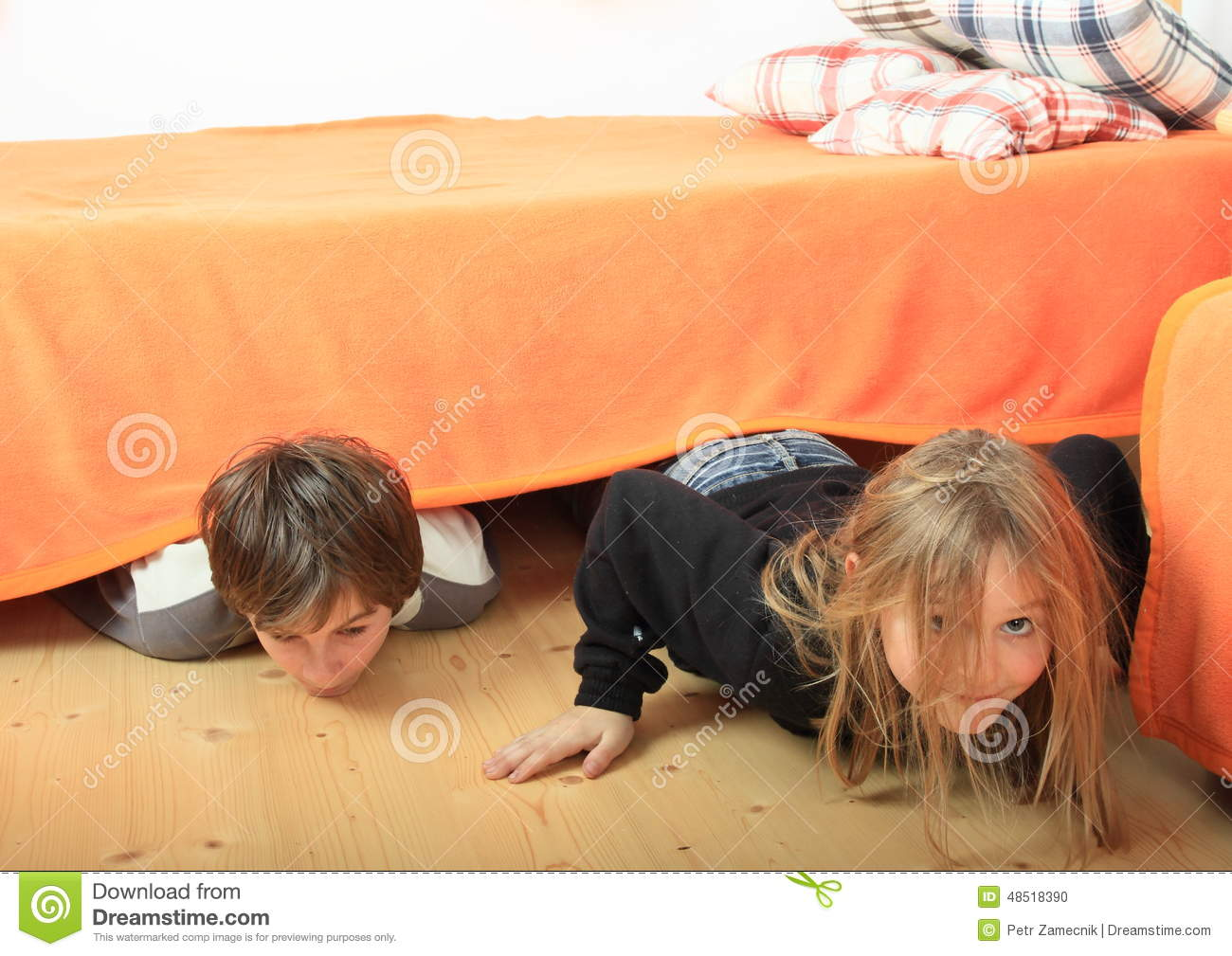Children Hiding Under Bed Stock Photo - Image: 48518390